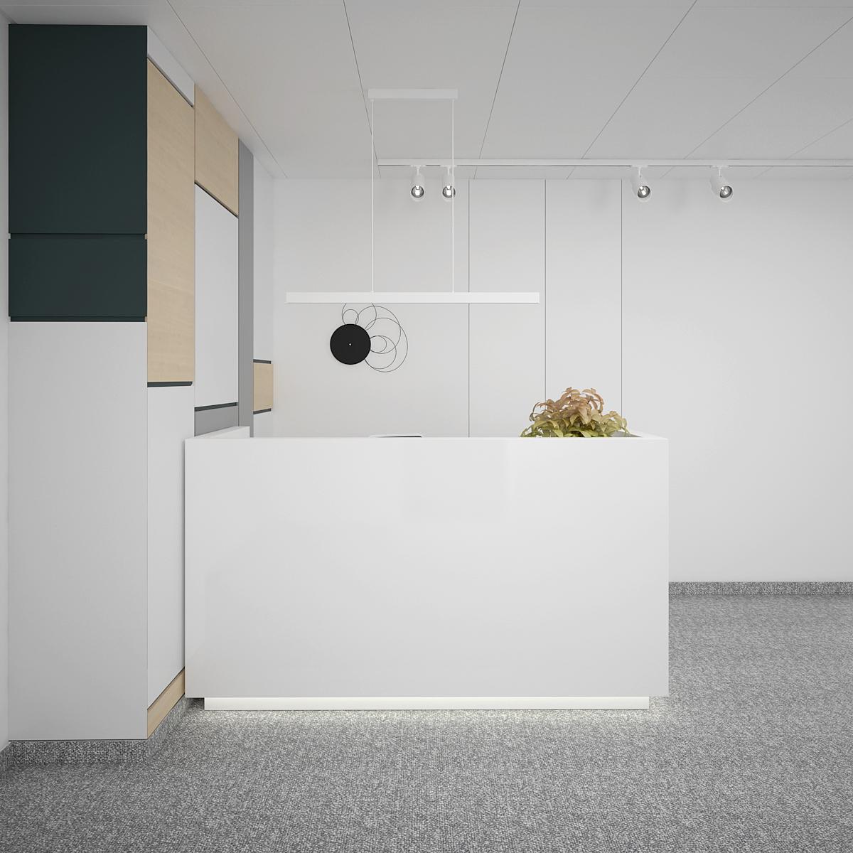 1 aranzacja biura B128 biuro krakow recepcja lada recepcyjna szara wykladzina panele na scianie oswietlenie na szynoprzewodach