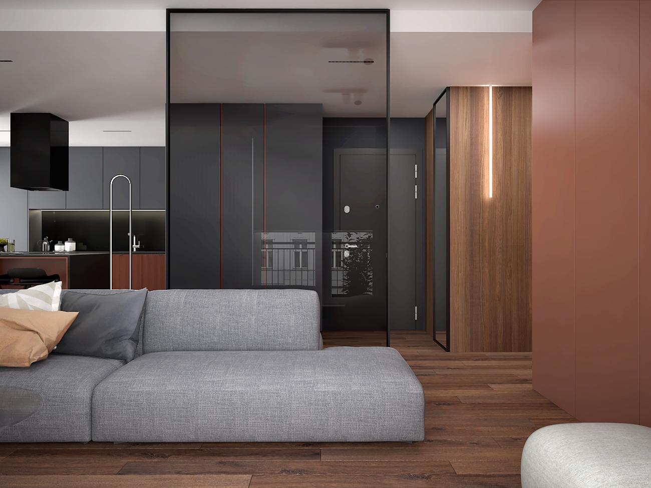 1 aranzacja wnetrza M563 mieszkanie katowice salon z kuchnia szklana sciana szara sofa deska podlogowa plyta meblowa na scianie