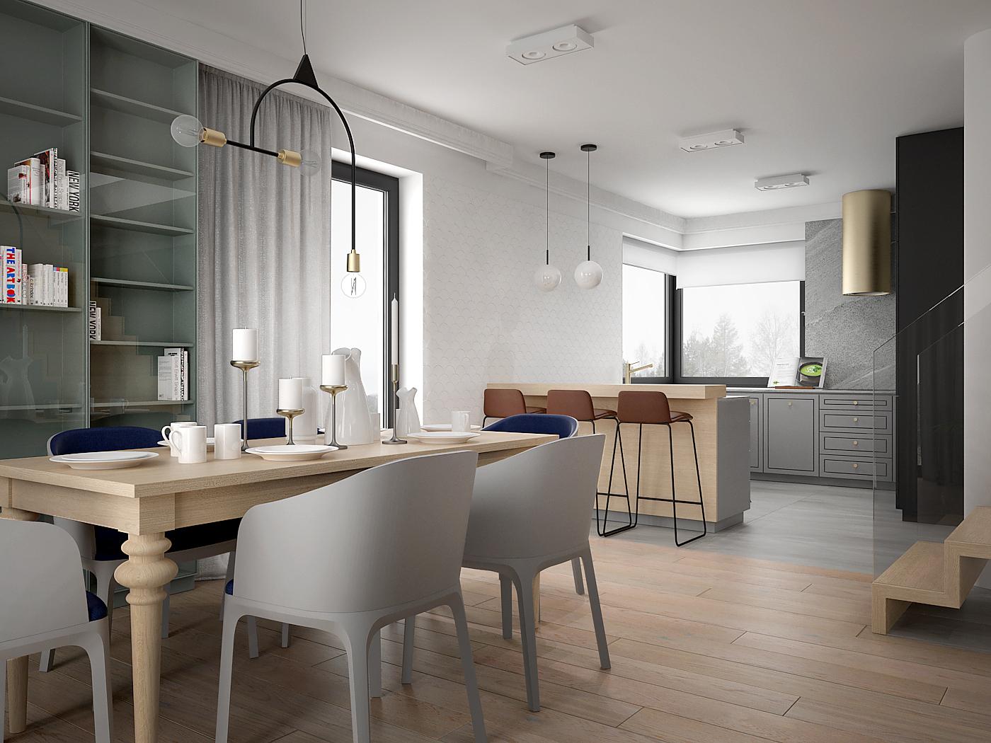 1 architek wnetrz D538 dom nowy sacz jadalnia z kuchnia zloty okap polwyspa klasyczny drewniany stol