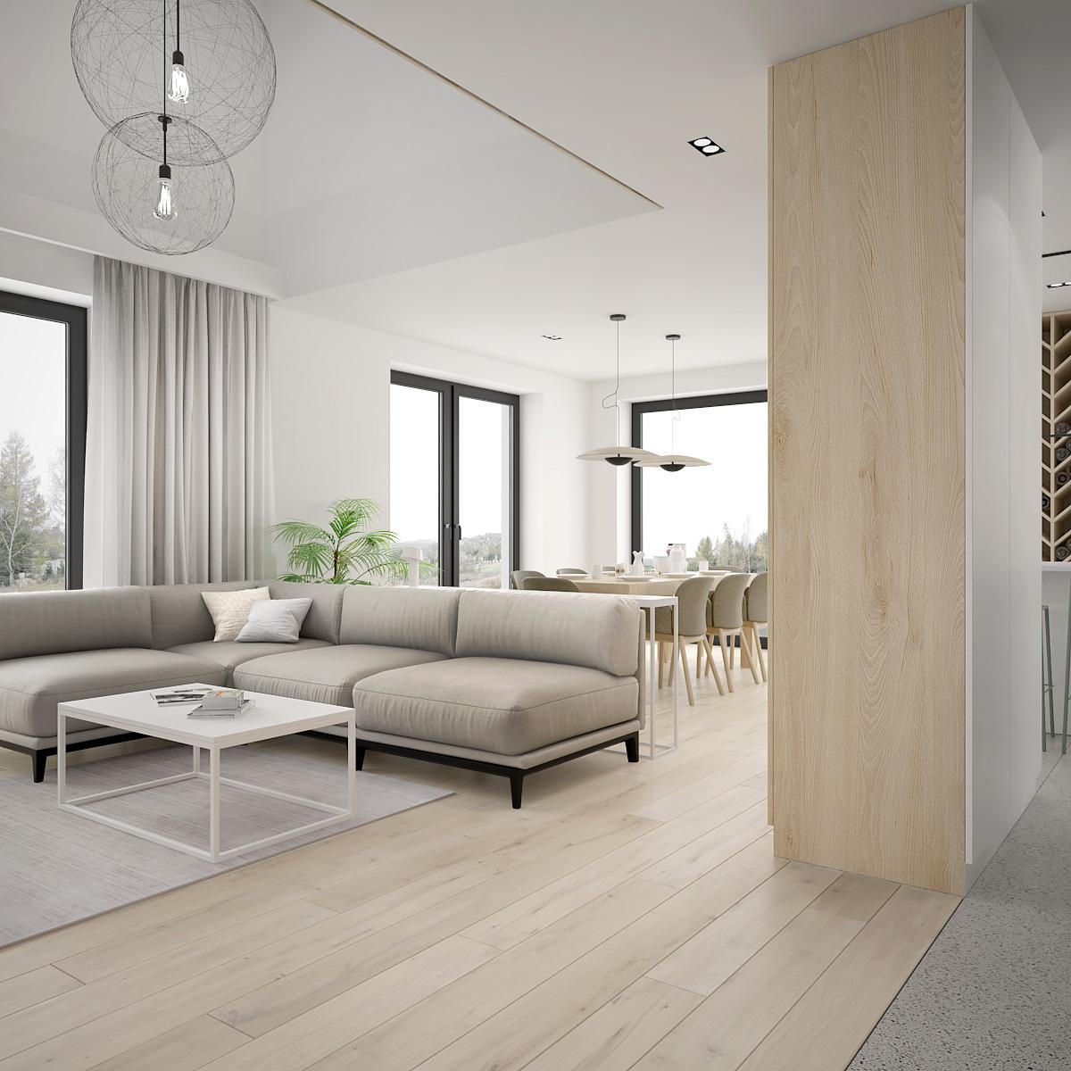 1 projekt wnetrza D552 dom krakow nowoczesny salon