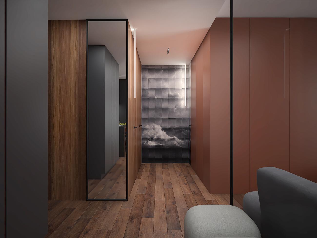 10 aranzacja wnetrza M563 mieszkanie katowice korytarz lustro w czarnej ramie tapeta z wzorem 3d plyta meblowa na scianie fornirowana sciana