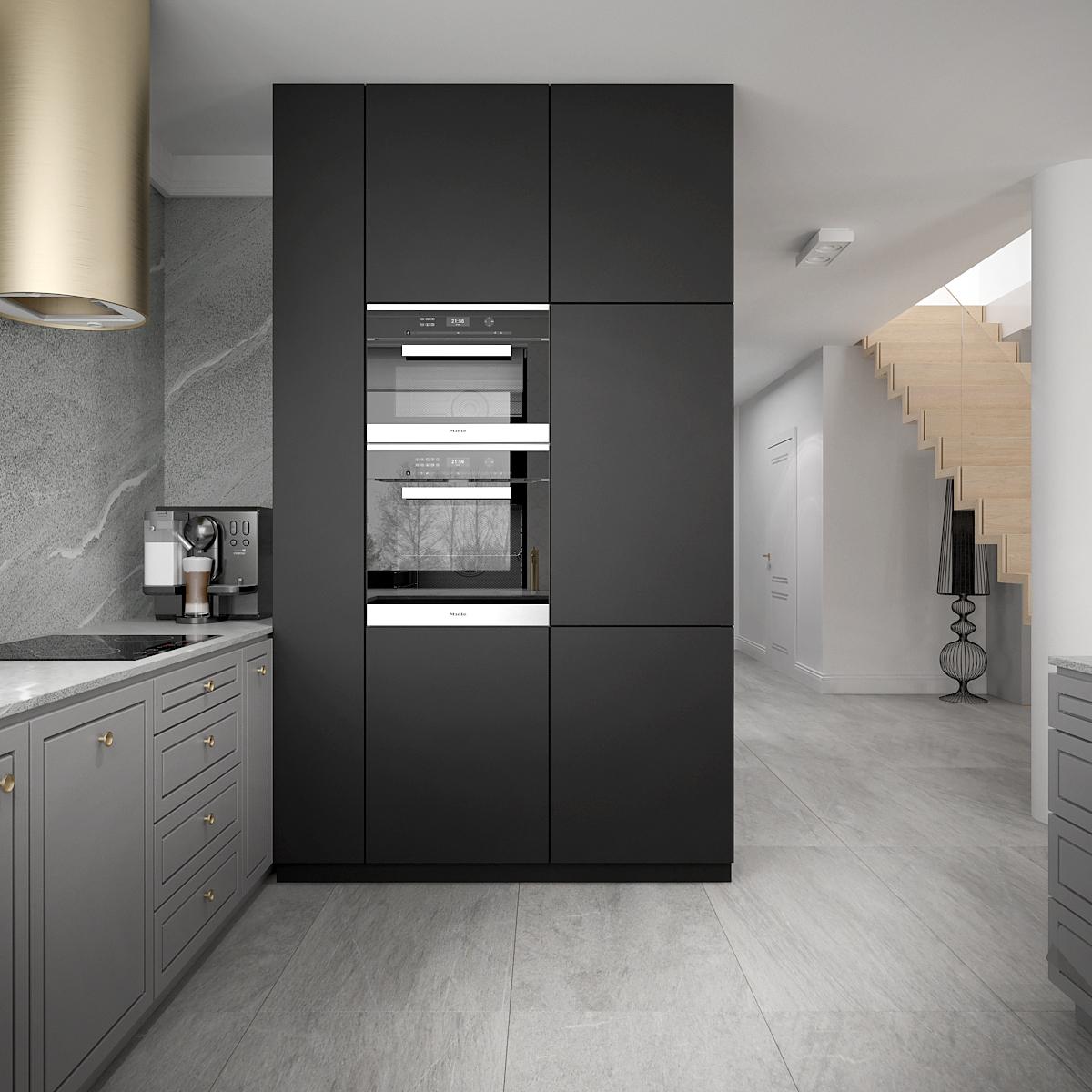 10 architek wnetrz D538 dom nowy sacz kuchnia piekarnik w wysokiej zabudowie zloto czarne zabudowy