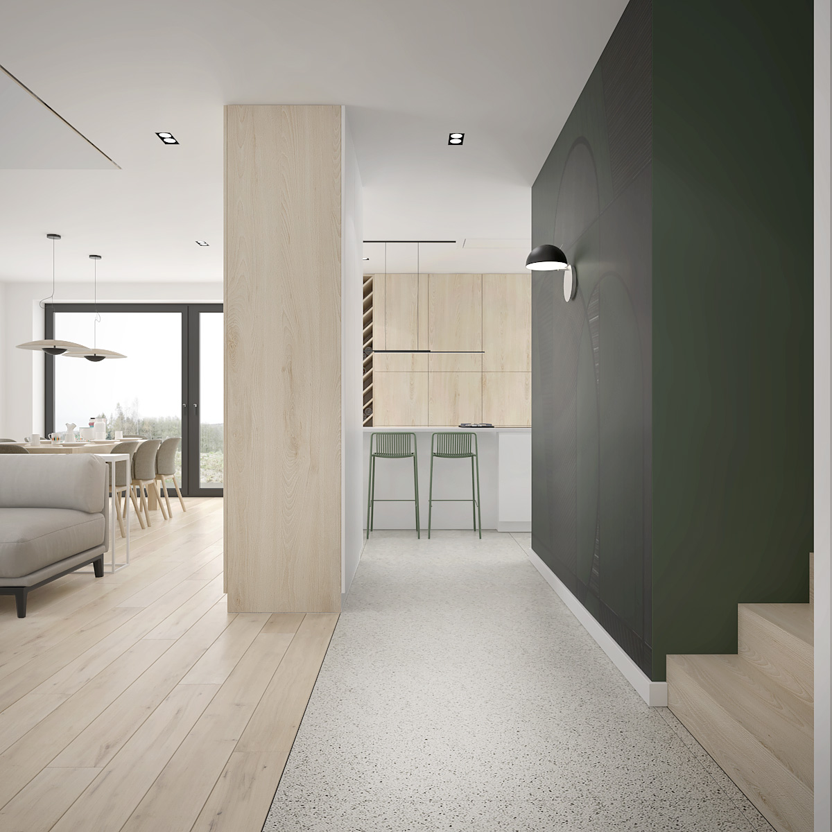 10 projekt wnetrza D552 dom krakow korytarz z zielona tapeta