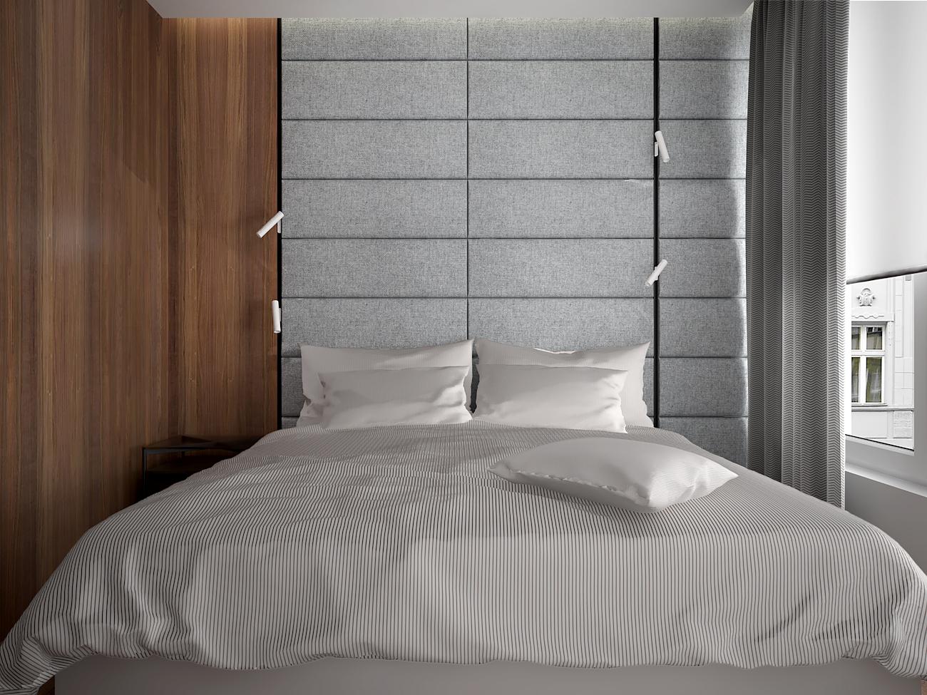 11 aranzacja wnetrza M563 mieszkanie katowice sypialnia lozko tapicerowana sciana za lozkiem fornirowana sciana nowoczesne kinkiety na szynoprzewodach