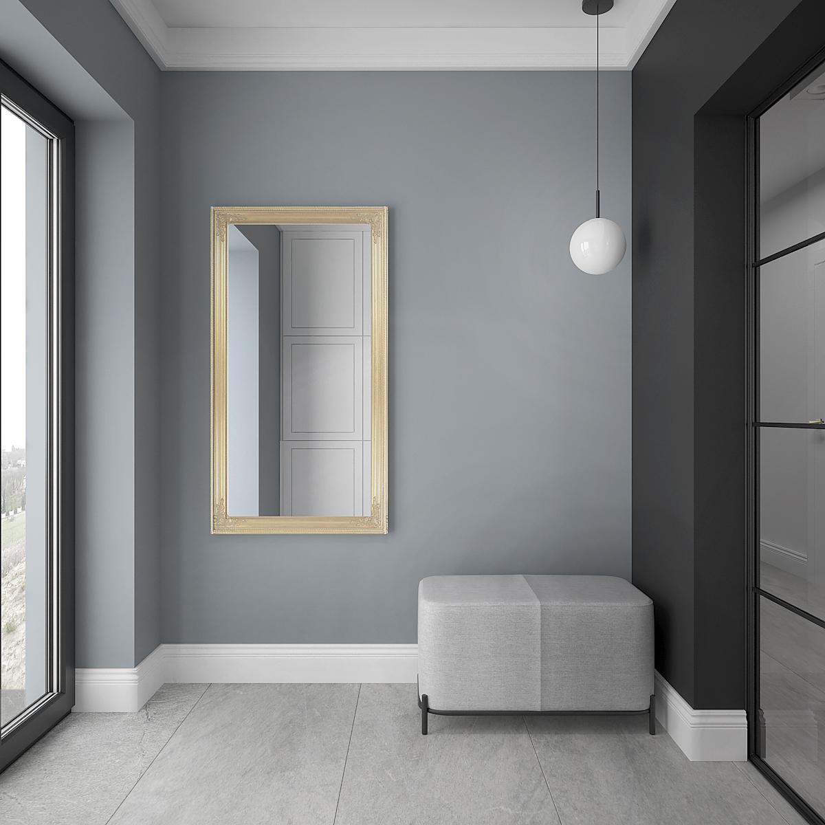 11 architek wnetrz D538 dom nowy sacz przedsionek lustro w zlotej ramie szare siedzisko szklane drzwi
