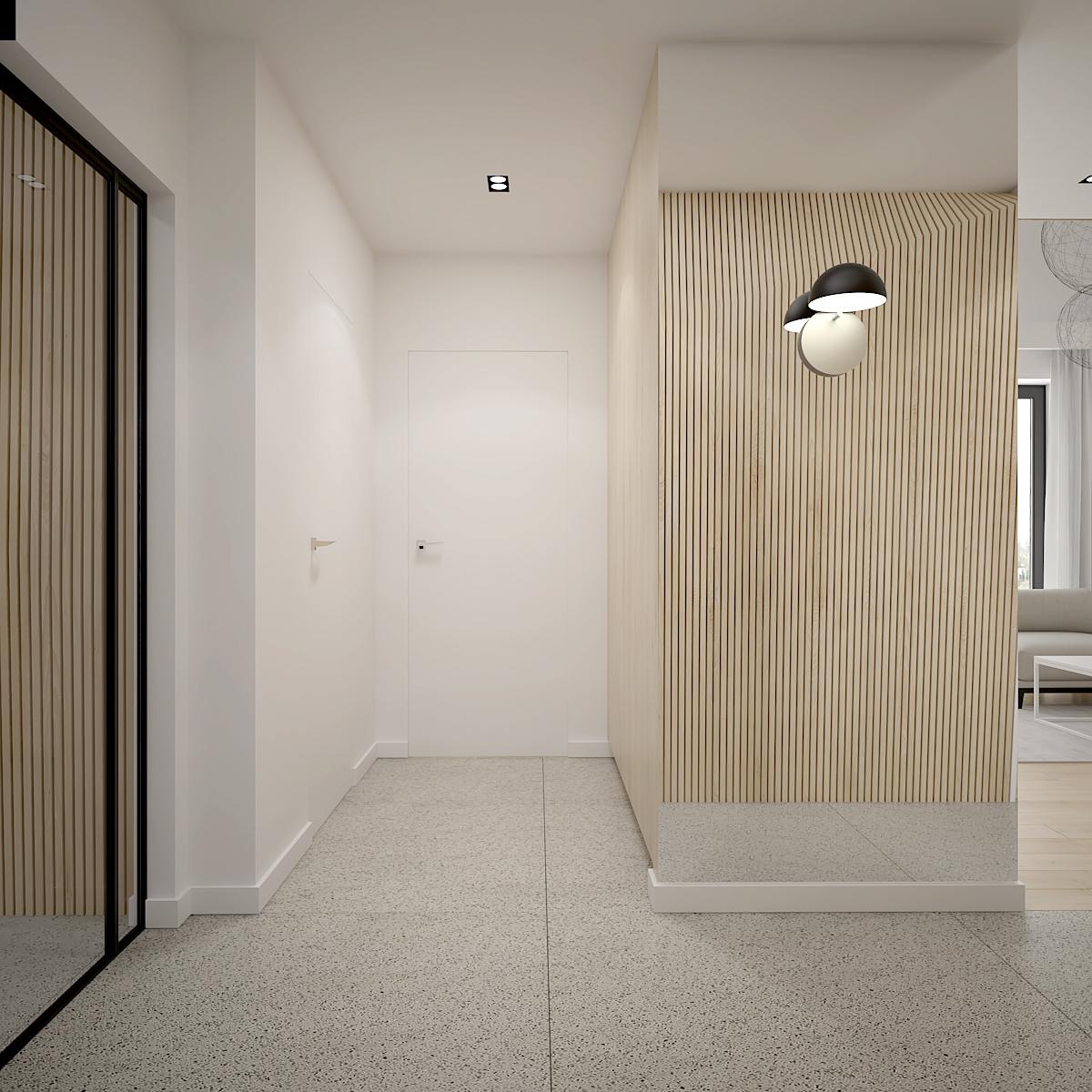 11 projekt wnetrza D552 dom krakow duzy korytarz z ukrytymi drzwimi