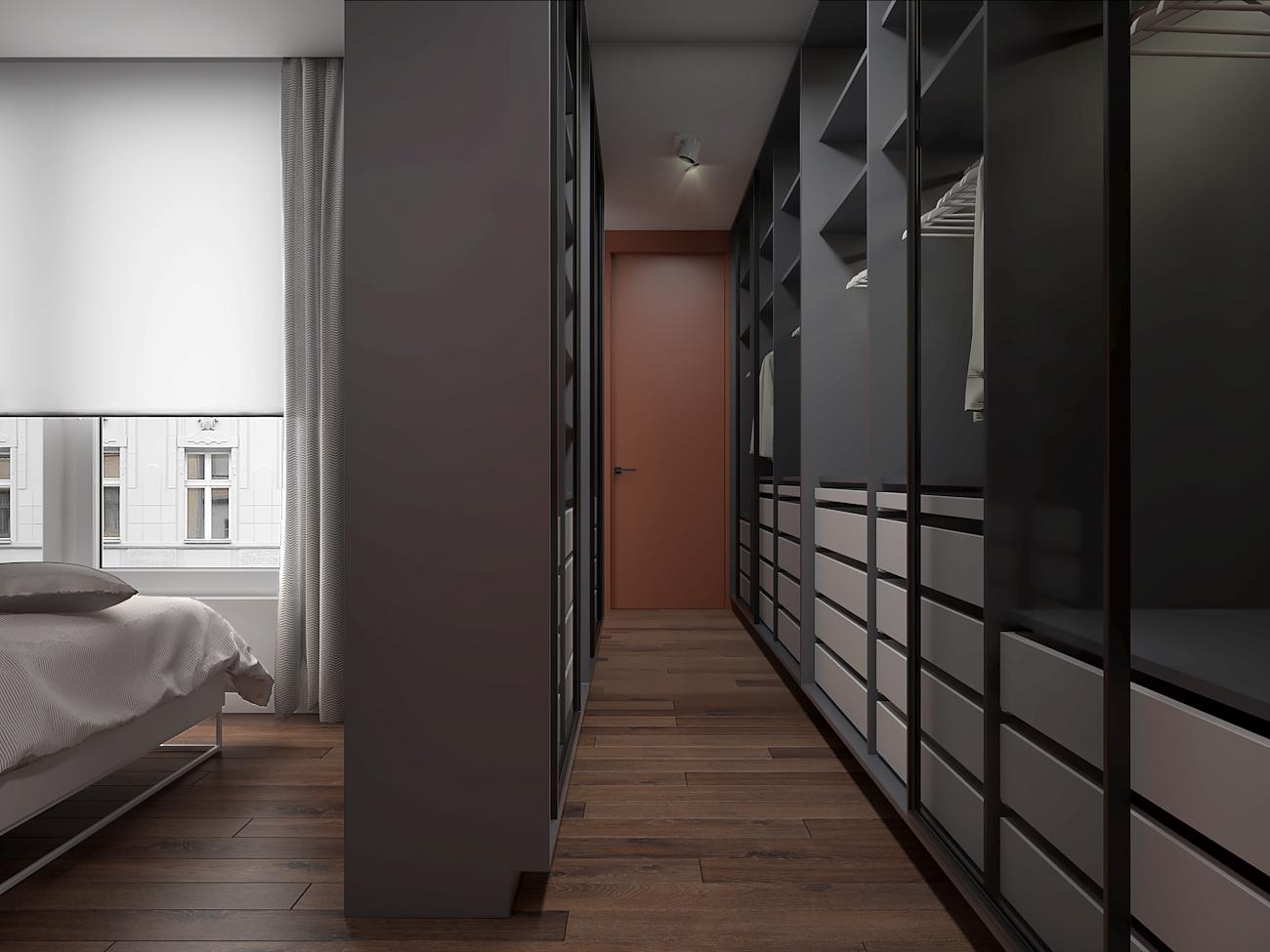 12 aranzacja wnetrza M563 mieszkanie katowice sypialnia z garderoba z wejsciem do lazienki szare zabudowy miedziane drzwi ukryte
