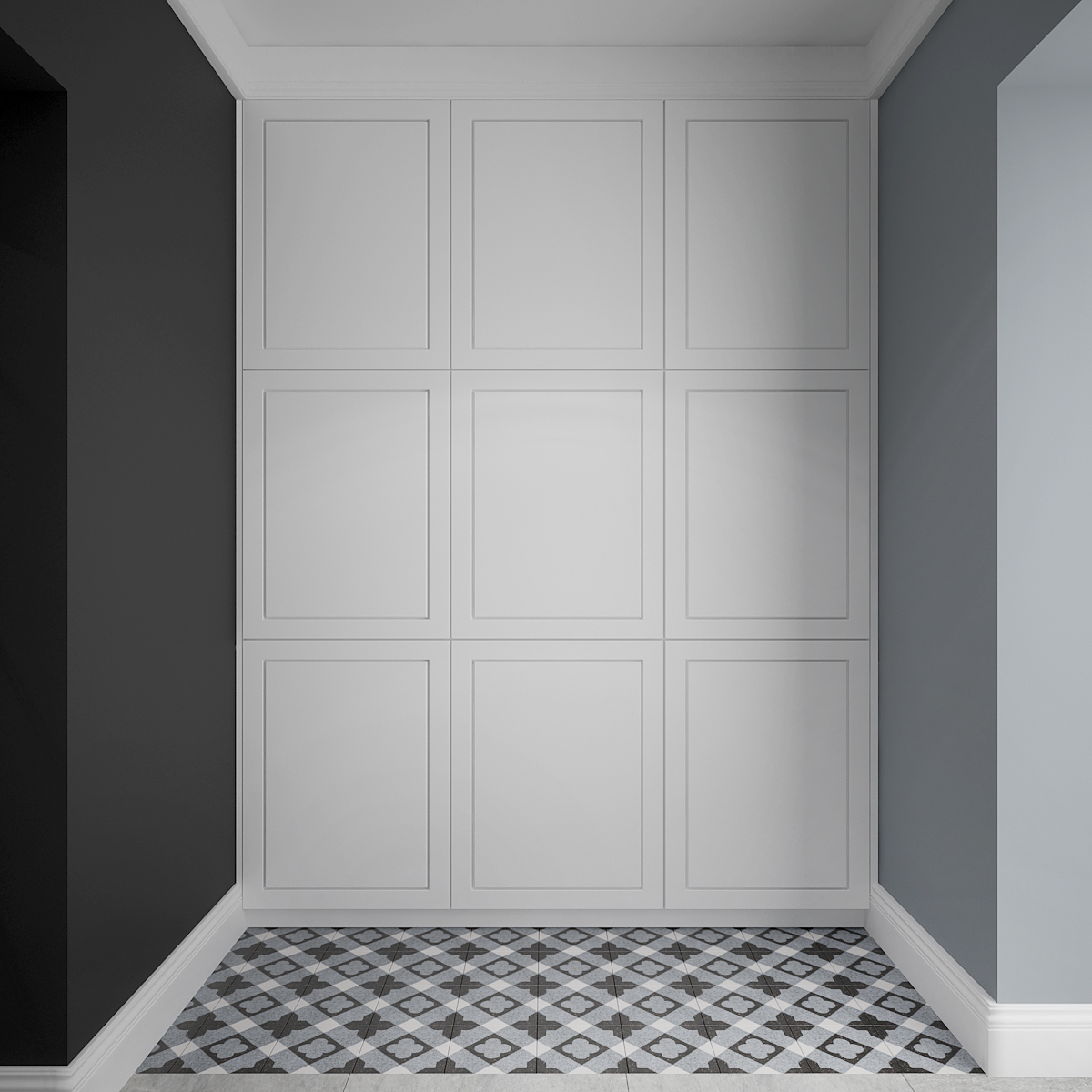 12 architek wnetrz D538 dom nowy sacz przedsionek plytki betonowe zabudowa garderobiana