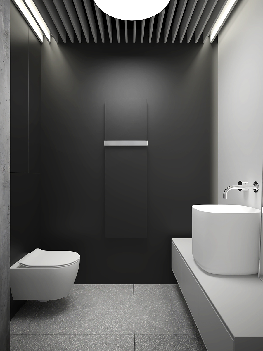 16 nowoczesny projekt wnetrza M541 mieszkanie katowice lazienka czarna sciana czarny grzejnik dekoracyjny sufit azurowy duza nablatowa umywalka