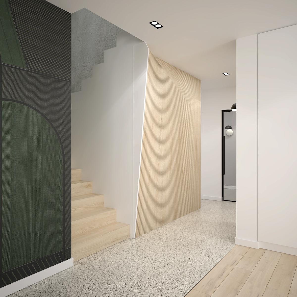 12 projekt wnetrza D552 dom krakow przestronny korytarz