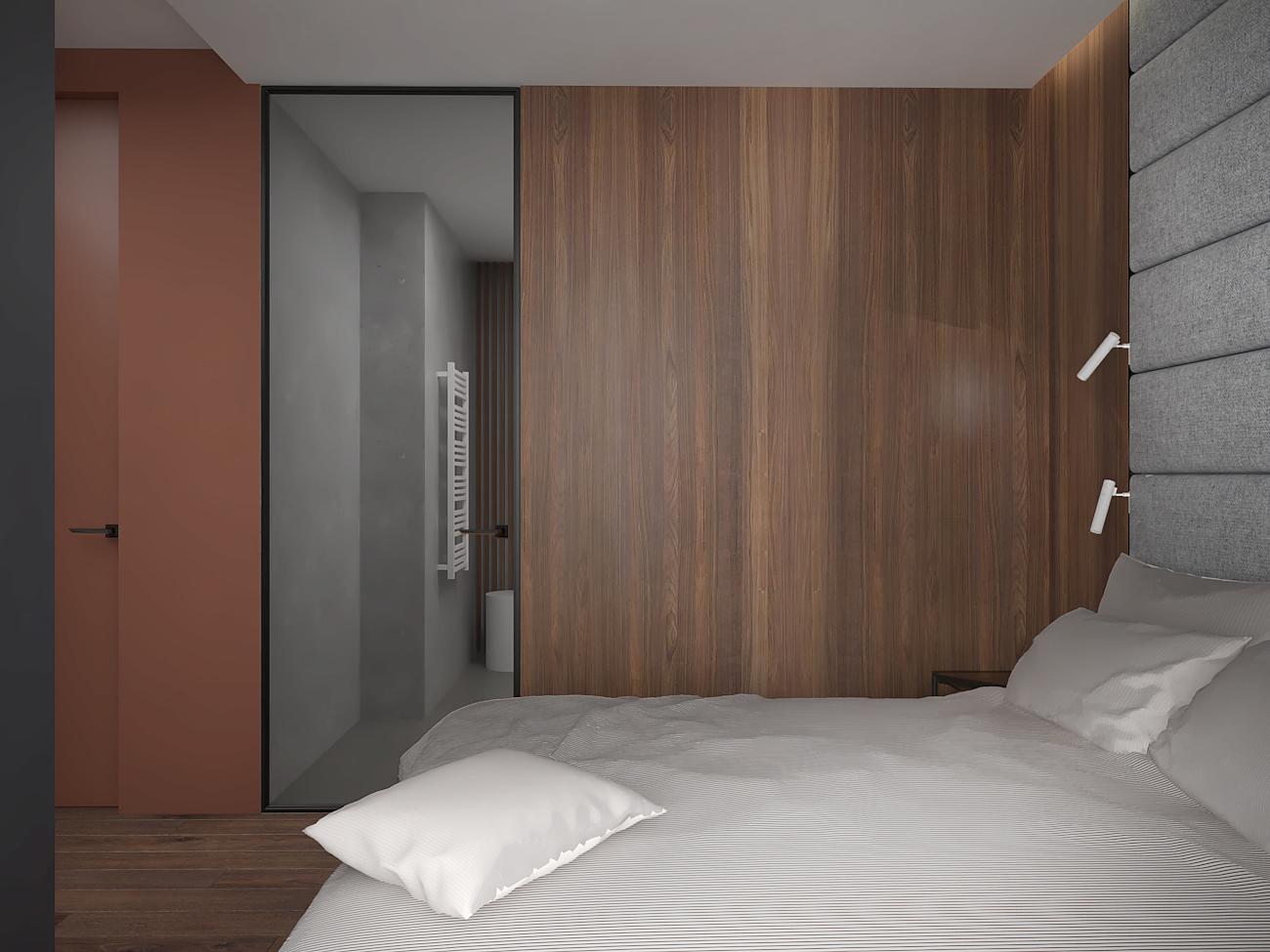 13 aranzacja wnetrza M563 mieszkanie katowice sypialnia szklane drzwi do lazienki fornirowana sciana