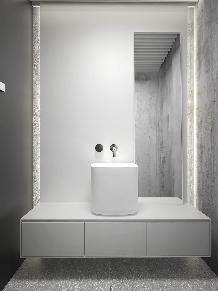 17 nowoczesny projekt wnetrza M541 mieszkanie katowice lazienka beton czern biel lastryko umywalka nablatowa bateria umywalkowa podtynkowa