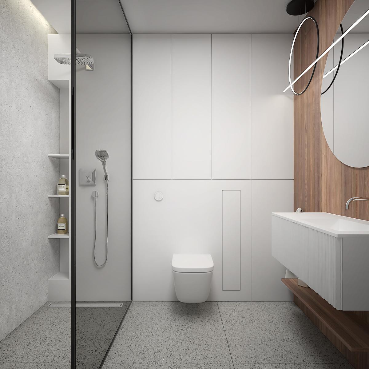14 aranzacja wnetrza M563 mieszkanie katowice lazienka prysznic walkin prysznic z deszczownica biala zabudowa plytki lastryko