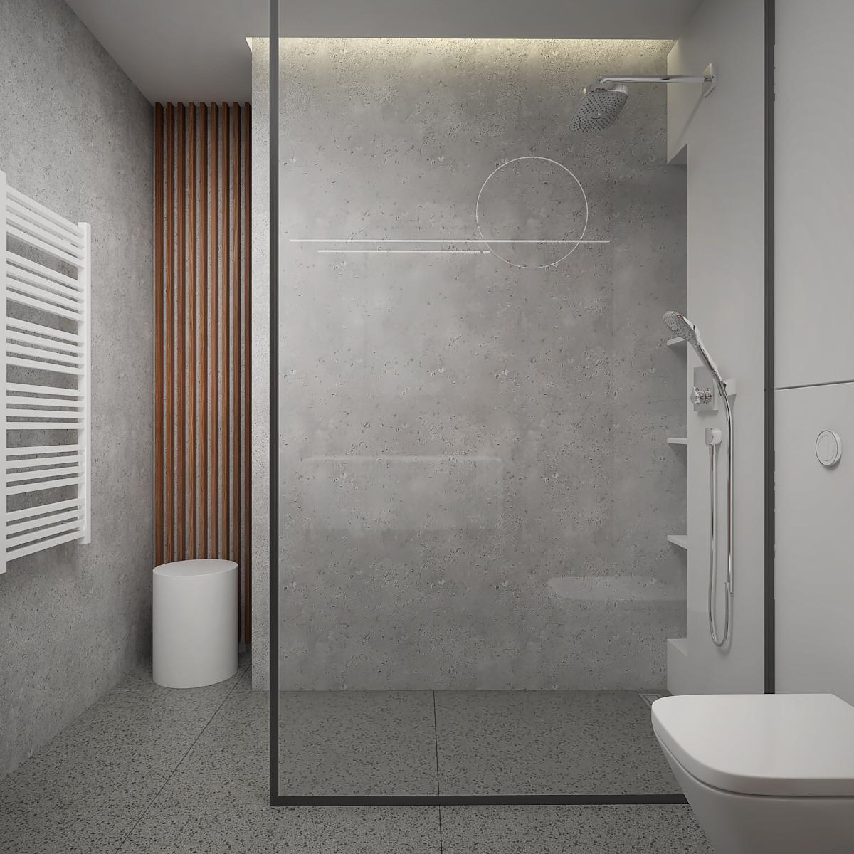 16 aranzacja wnetrza M563 mieszkanie katowice salon z kuchnia betonowa sciana prysznic walkin przysznic z deszczownica lamele we wnece