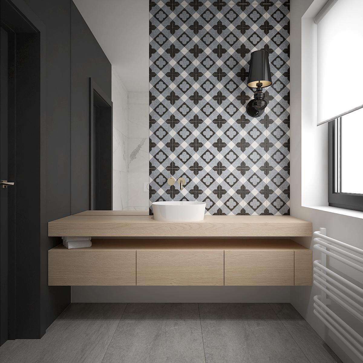 16 architek wnetrz D538 dom nowy sacz lazienka plytki rustykalne umywalka nablatowa drewniana zabudowa