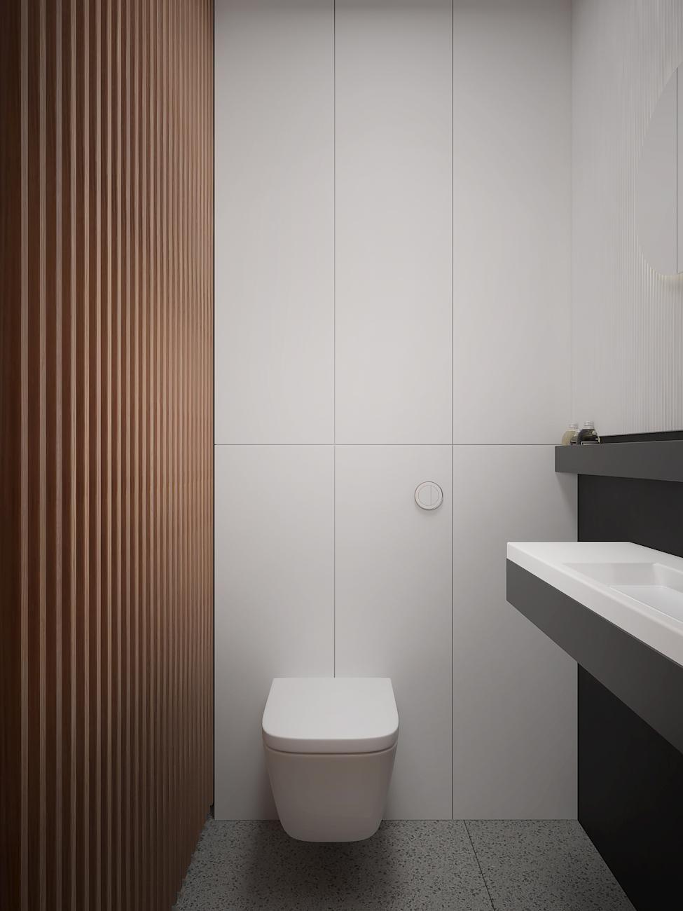 17 aranzacja wnetrza M563 mieszkanie katowice toaleta lamele na scienia biala zabudowa za miska wc