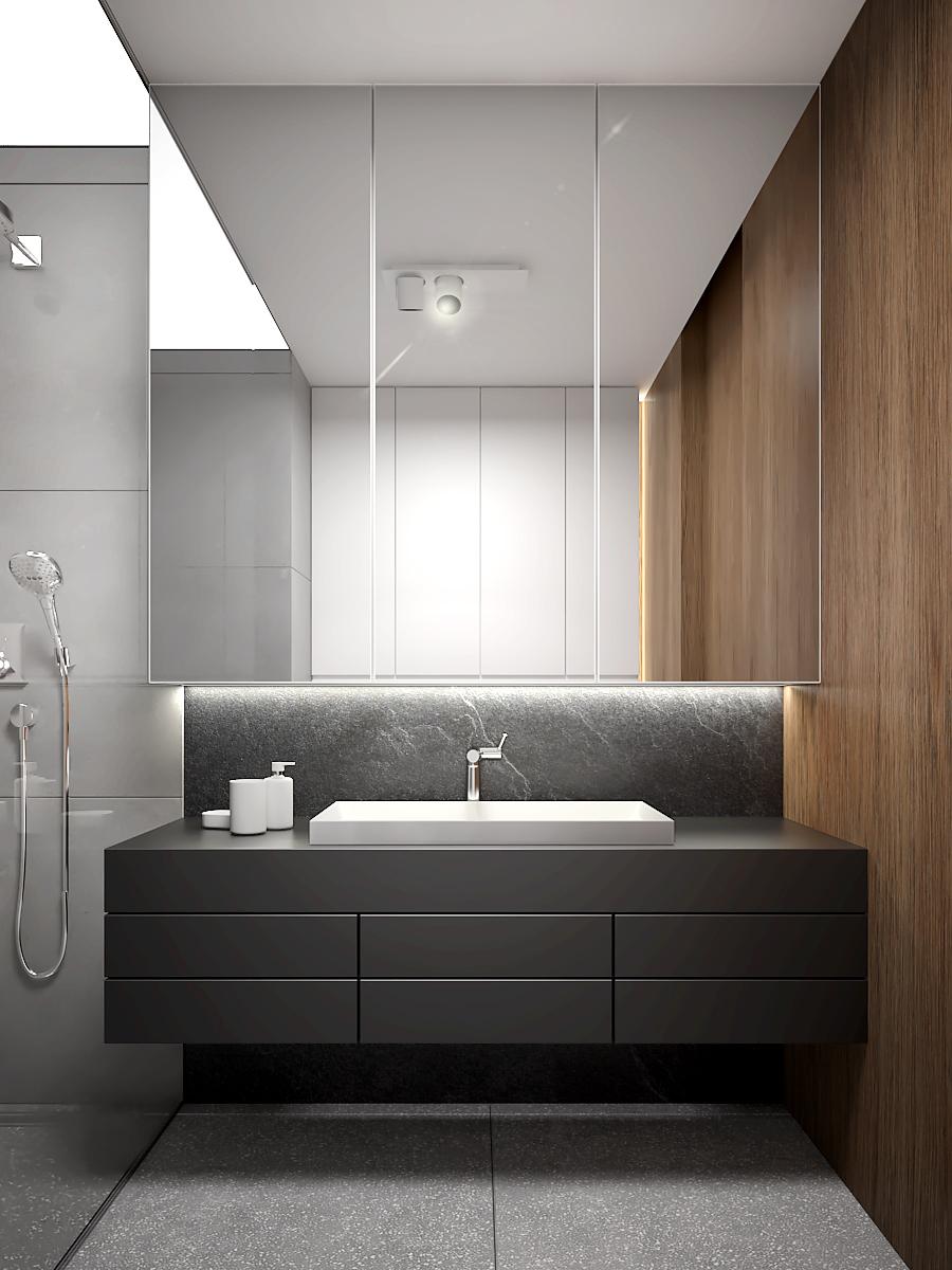 18 nowoczesny projekt wnetrza M541 mieszkanie katowice lazienka duza umywalka nablatowa czarna szafka pod umywalka lustrzana zabudowa nad umywalka plytki latryko