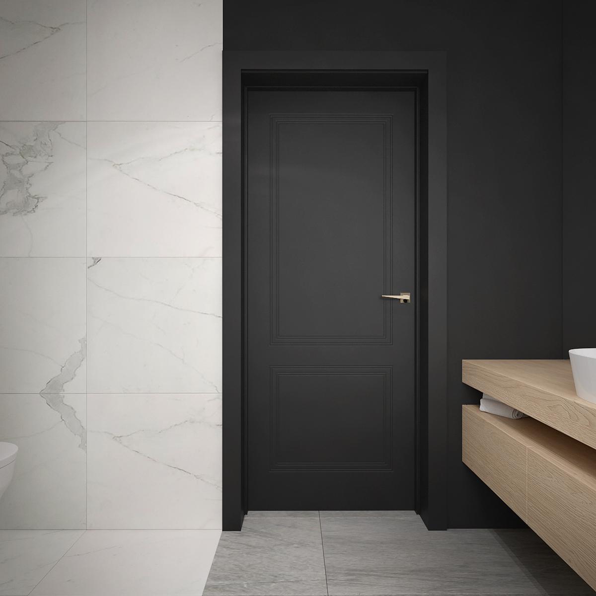 18 architek wnetrz D538 dom nowy sacz lazienka marmurowe plytki czarne drzwi