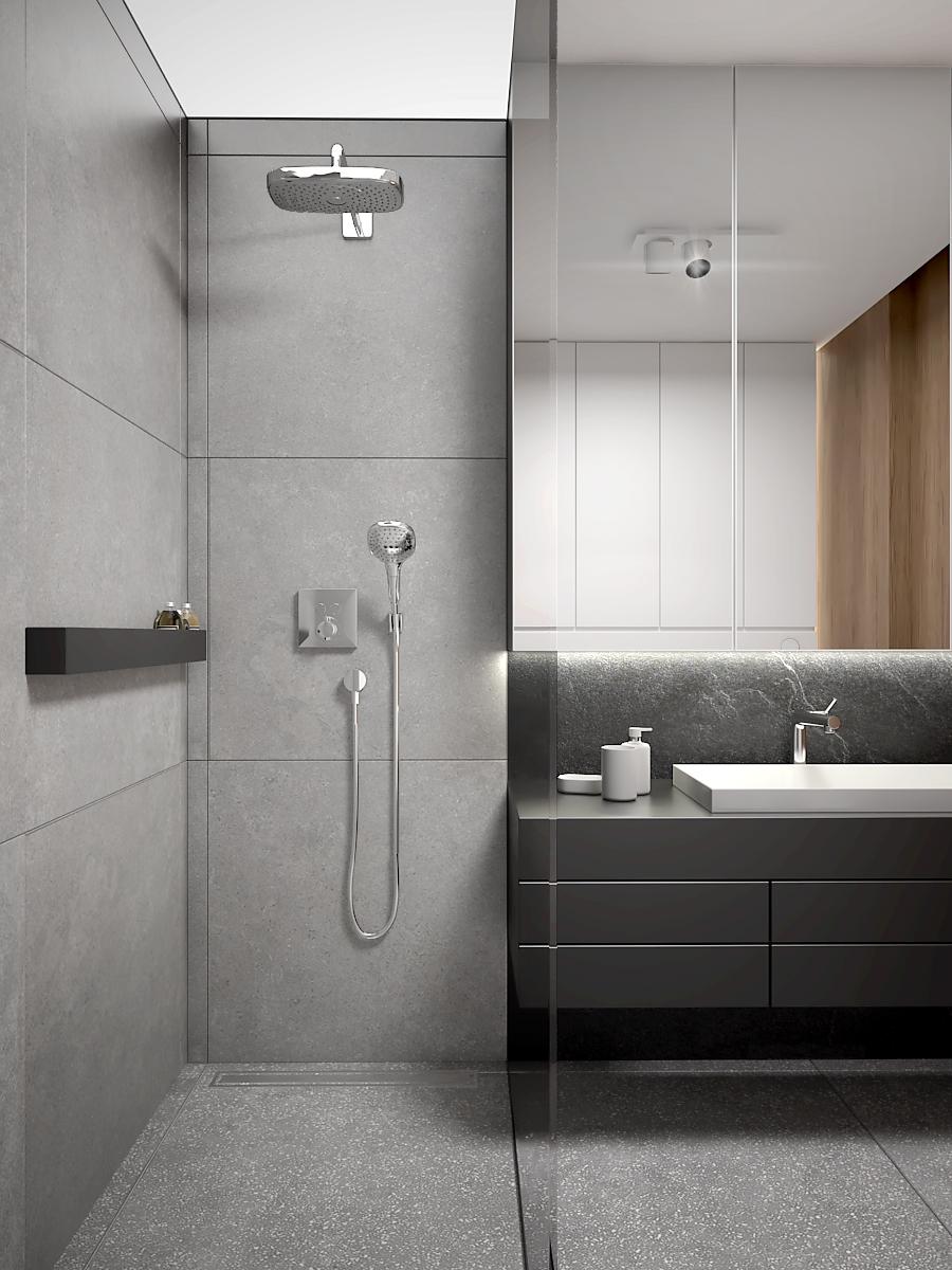 19 nowoczesny projekt wnetrza M541 mieszkanie katowice lazienka prysznic z przeszkleniem walkin deszczownica szare plytki czarne dodatki
