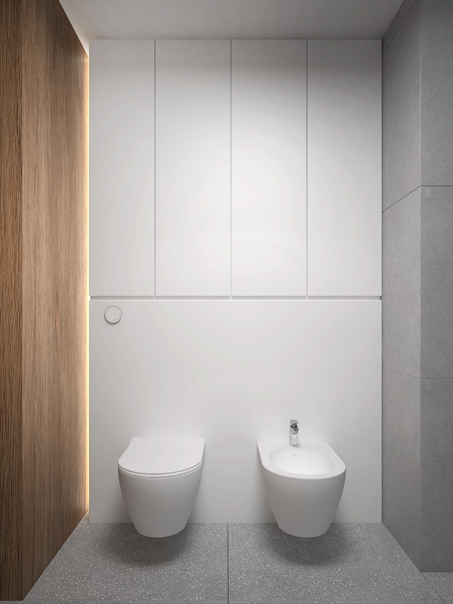 20 nowoczesny projekt wnetrza M541 mieszkanie katowice lazienka bidet i toaleta plytki podlogowe lastryko fornirowana sciana