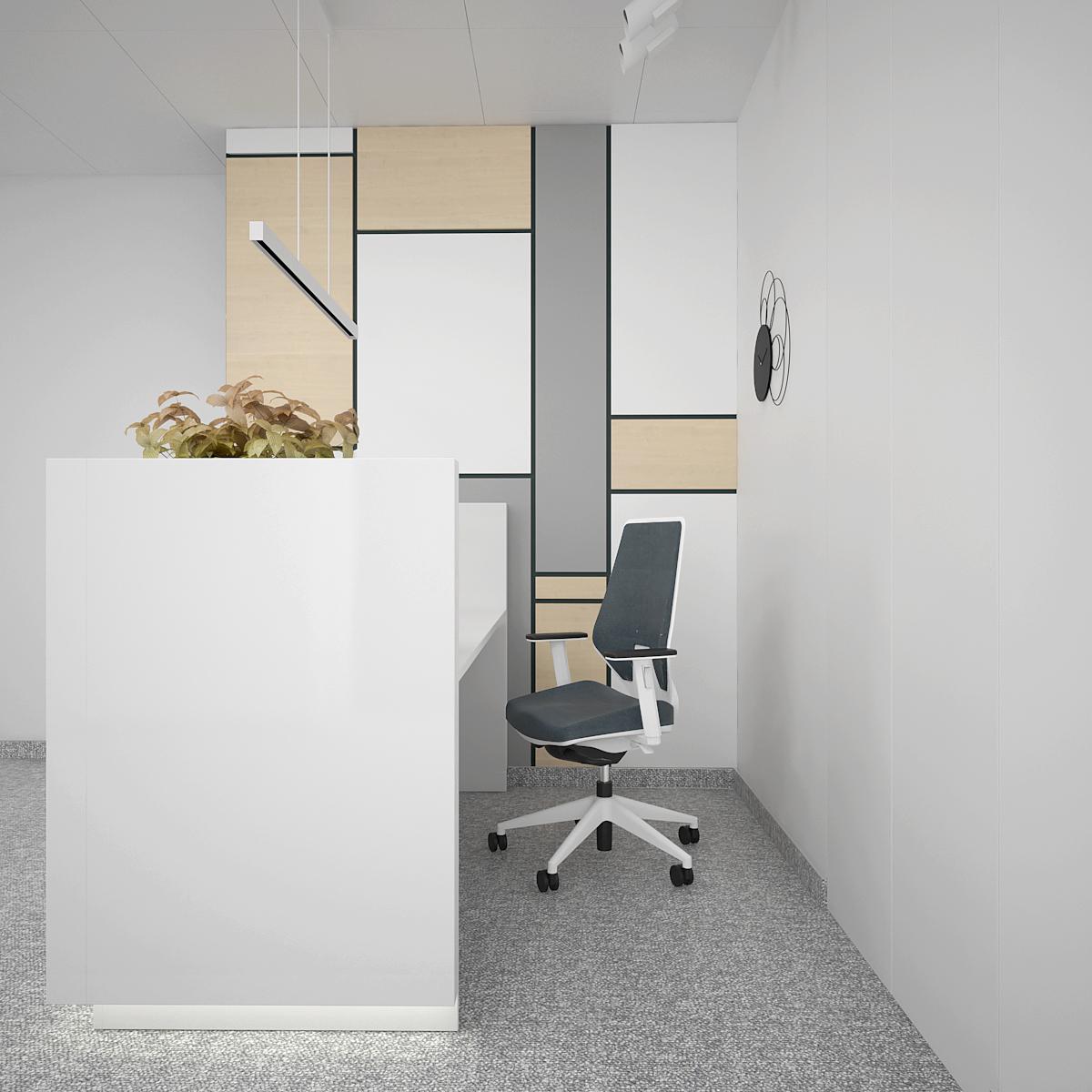 2 aranzacja biura B128 biuro krakow recepcja lada recepcyjna fotel biurowy kolorowe panele na scianie