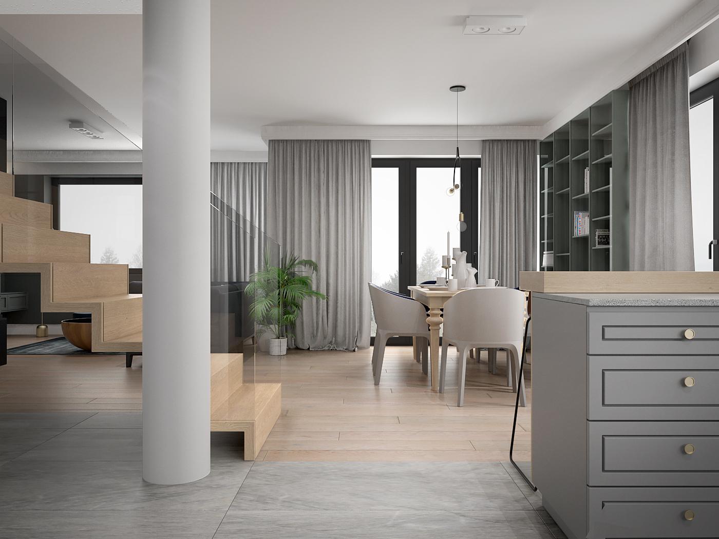 2 architek wnetrz D538 dom nowy sacz salon z jadalnia schody dywanowe klasyczny styl