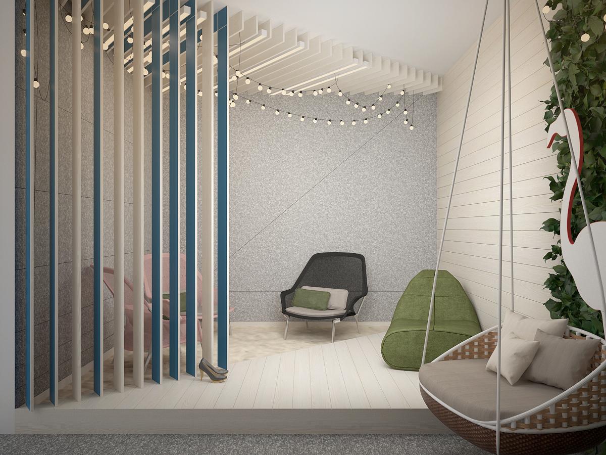 2 projekt biura K073 strefa rekreacyjna azurowe panele sufitowe azurowa scianka piasek fotele plazowe wiszacy fotel