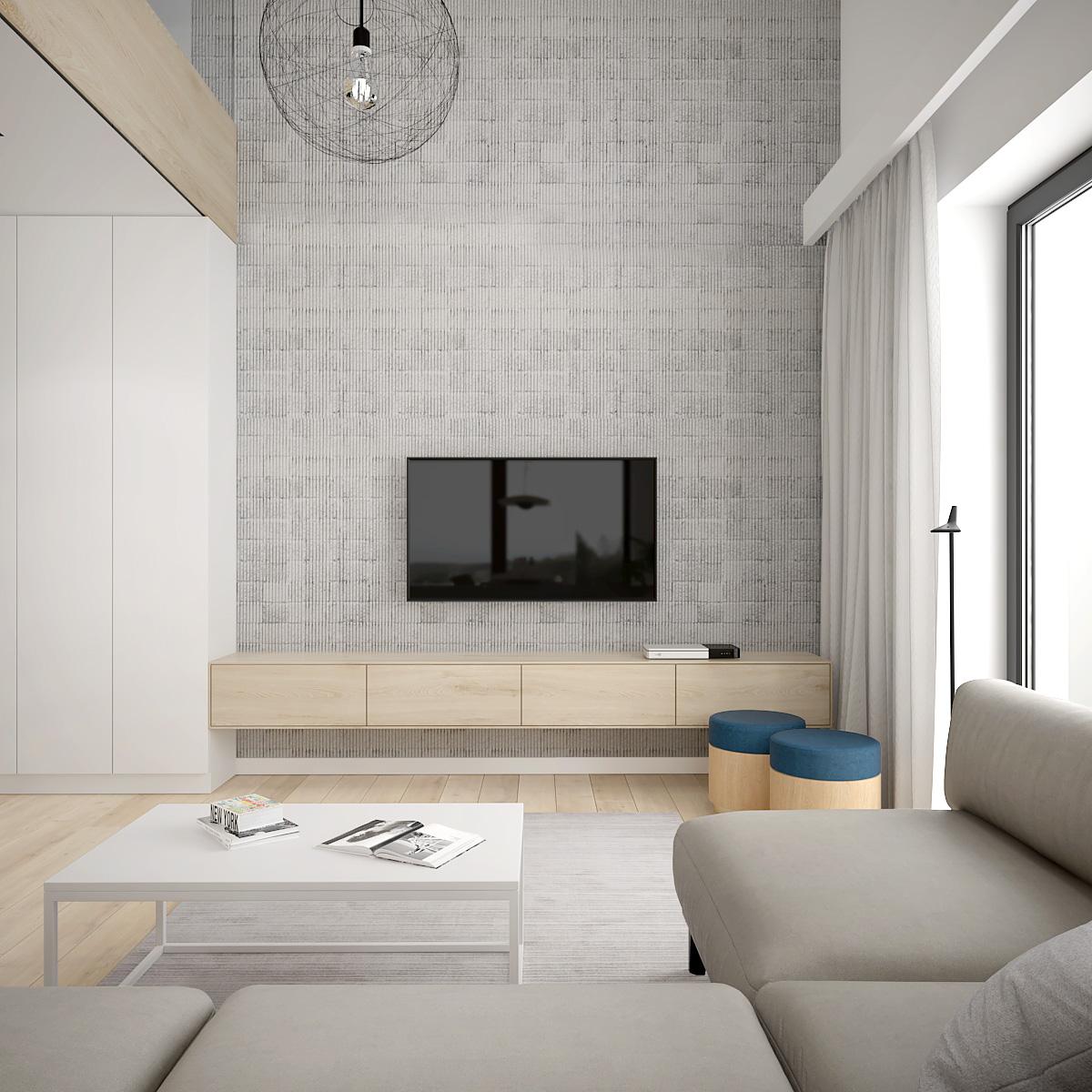 2 projekt wnetrza D552 dom krakow sciana telewizyja