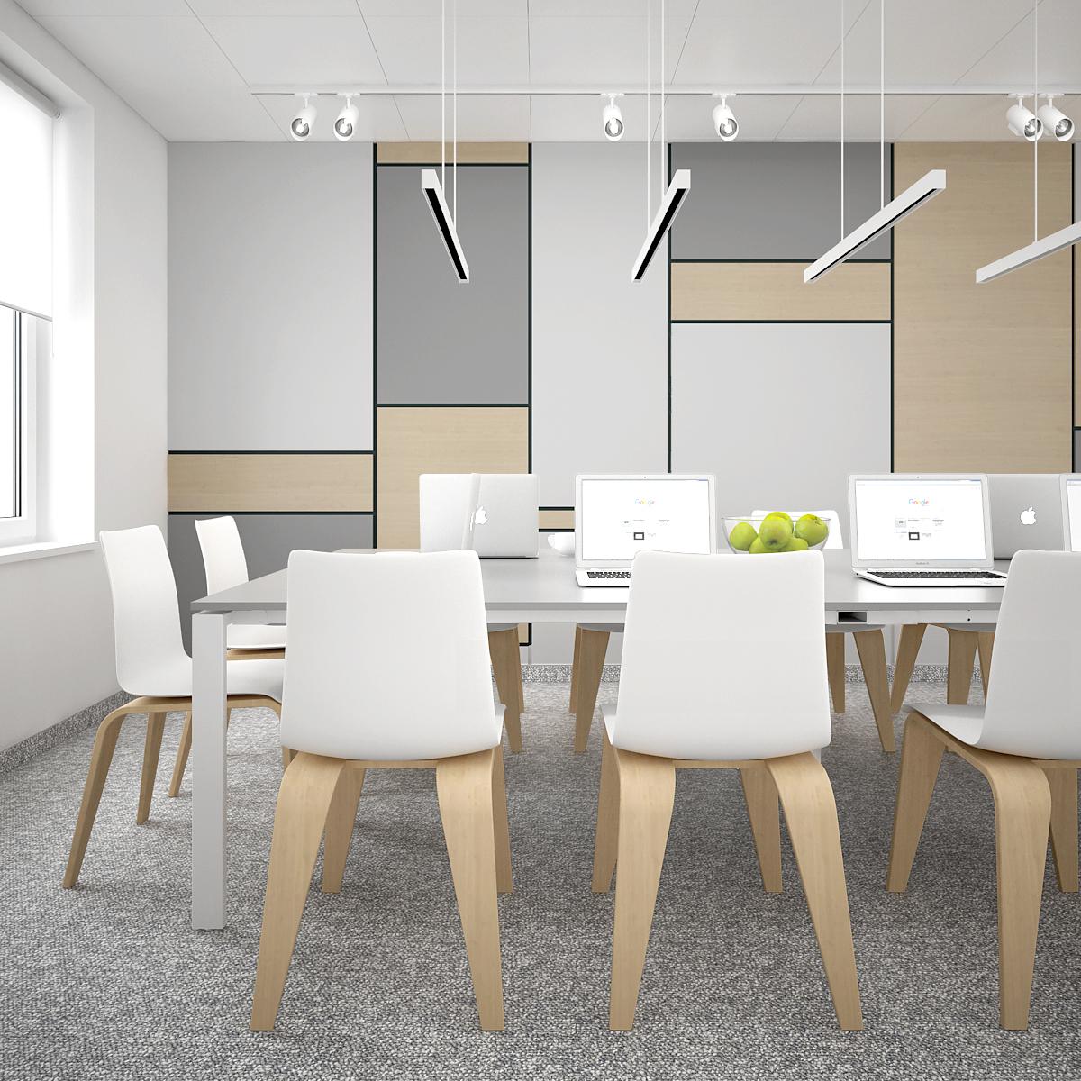 3 aranzacja biura B128 biuro krakow sala konferencyjna nowoczene krzesla stol konferencyjny panele na scienie wiszace lampy liniowe