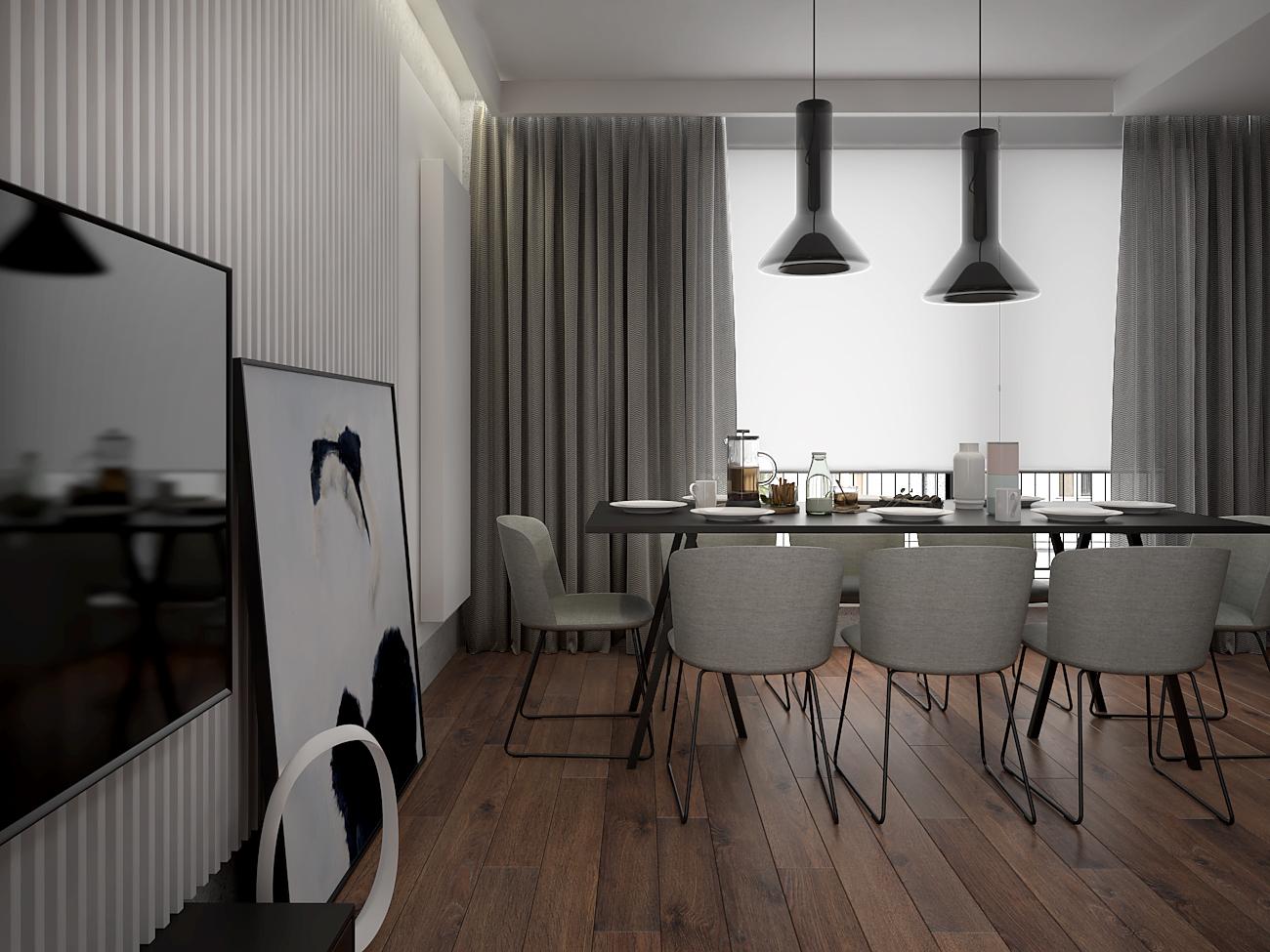 3 aranzacja wnetrza M563 mieszkanie katowice jadalnia biale lamele na scianie nowoczesny stol tapicerowane krzesla szare zaslony