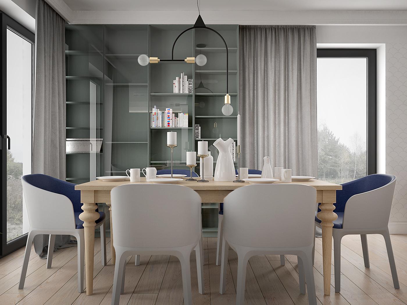 3 architek wnetrz D538 dom nowy sacz jadalnia duzy stol krzesla pedrali drewniany stol