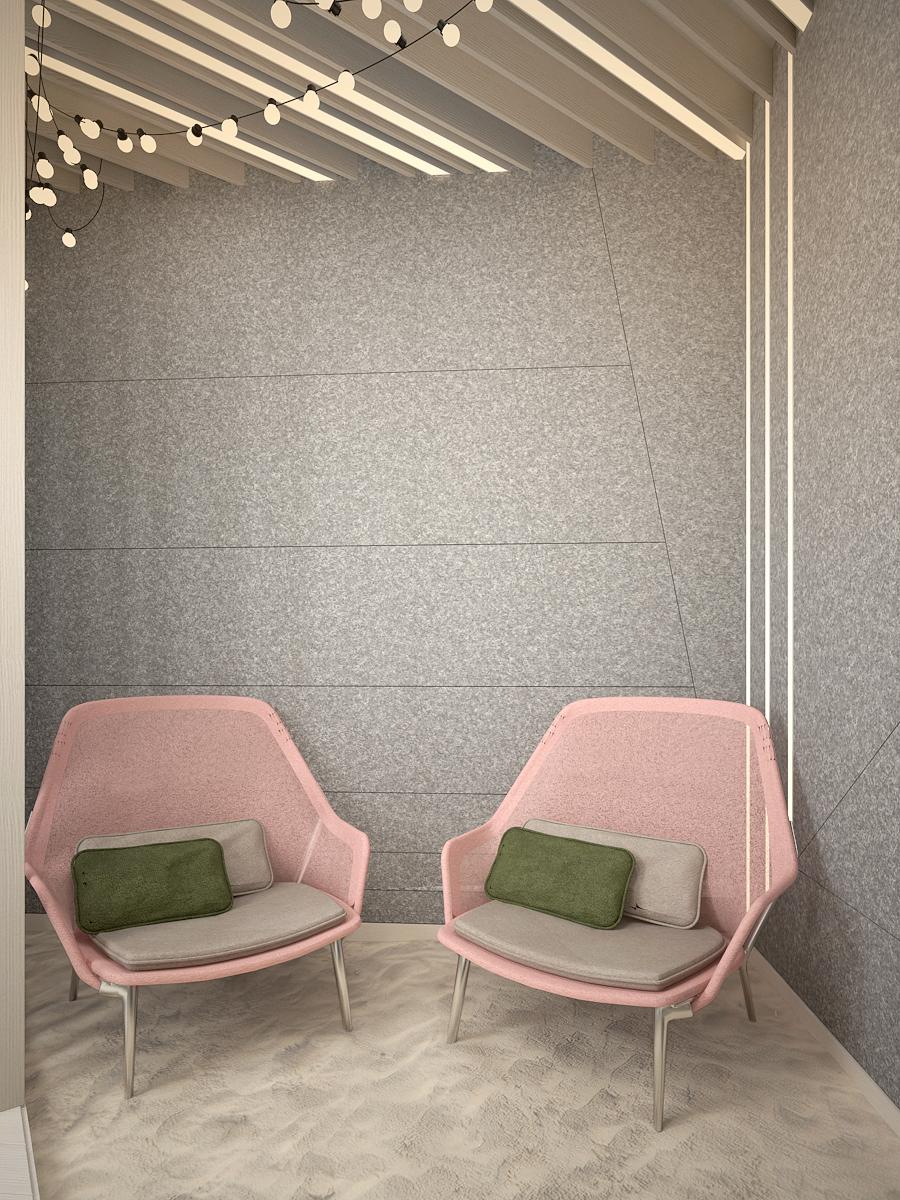 3 projekt biura K073 strefa rekreacyjna dwa wygodne fotele piasek filcowa sciana panele sufitowe