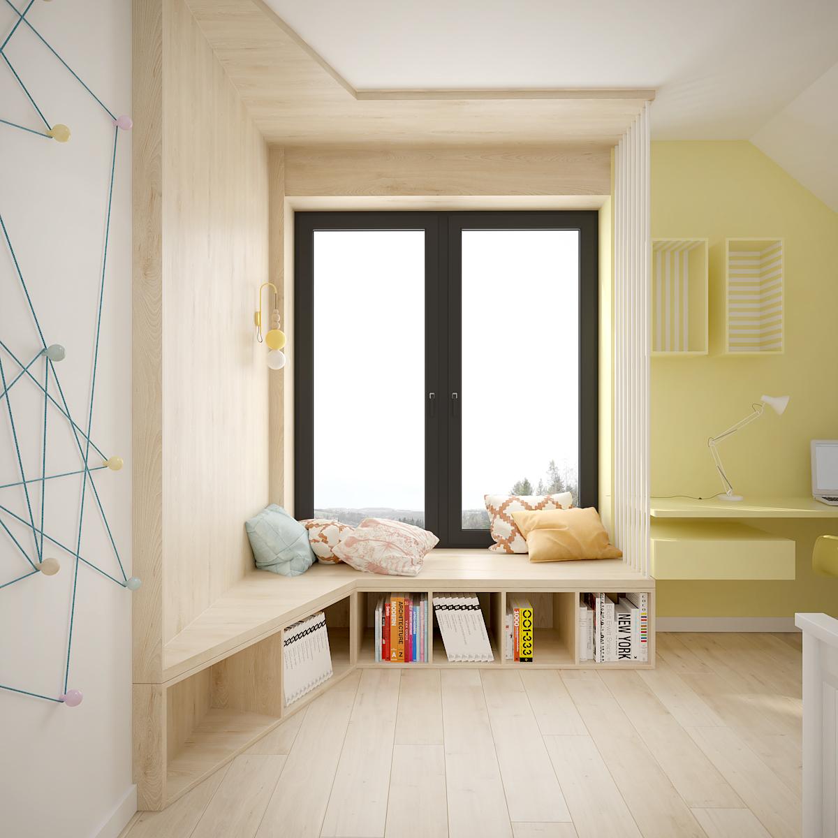 33 projekt wnetrza D552 dom krakow pokoj dziecka siedzisko przy oknie