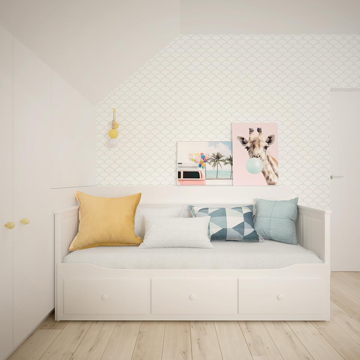 35 projekt wnetrza D552 dom krakow pokoj dziecka lozko z szufladami