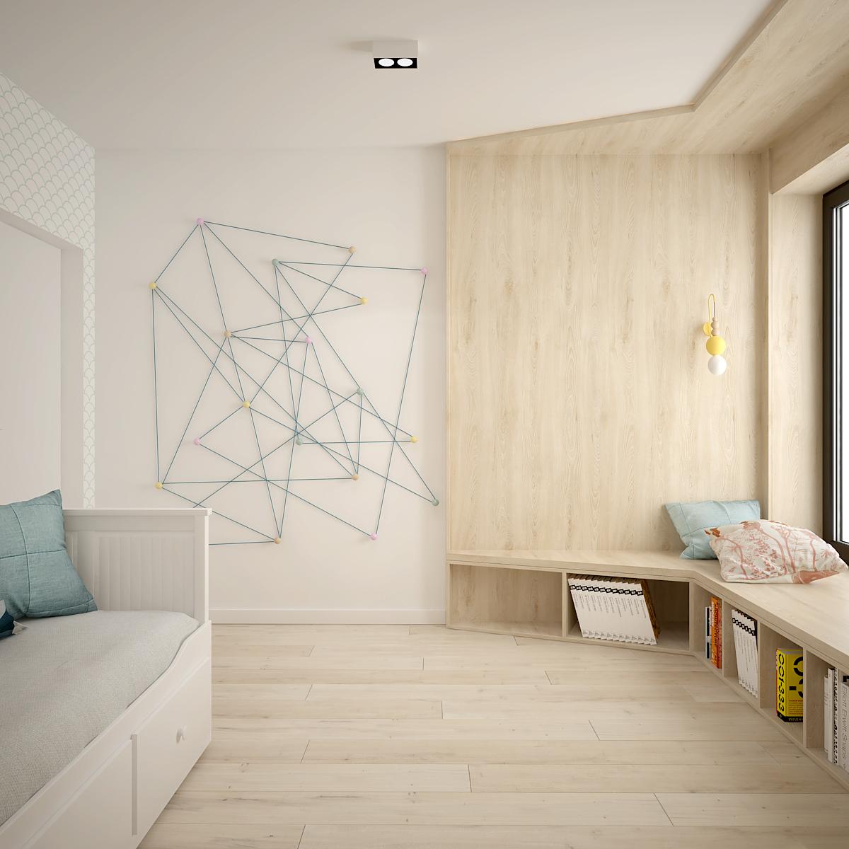 36 projekt wnetrza D52 dom krakow pokoj dziecka sznurkowe wieszaki
