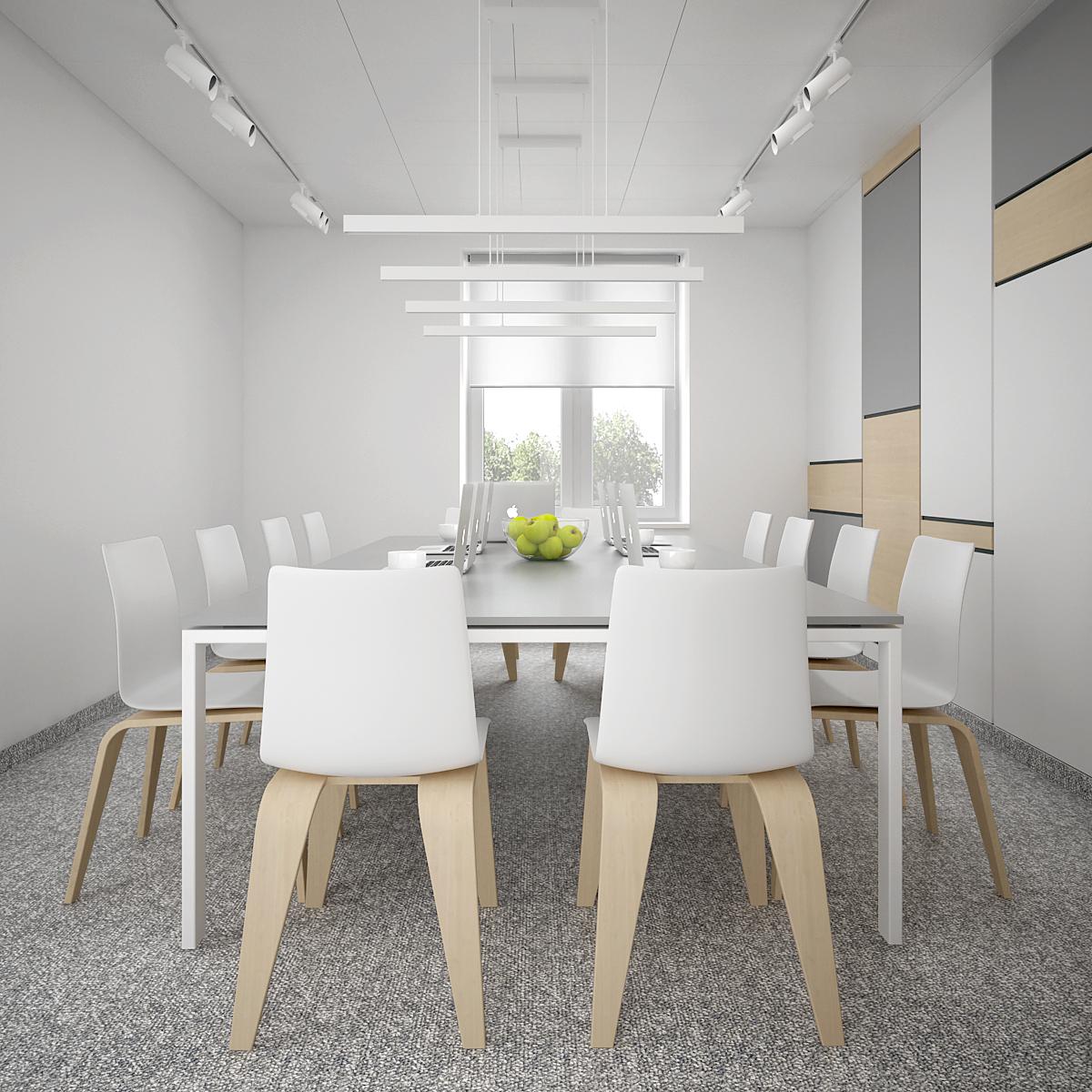 4 aranzacja biura B128 biuro krakow sala konferencyjna nowoczesne krzesla duzy stol konferencyjny oswietlenie na szynach panale na scianie