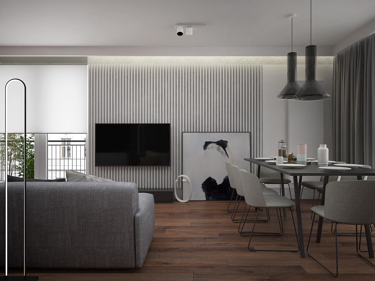 4 aranzacja wnetrza M563 mieszkanie katowice salon z jadalnia biale lamele na scianie nowoczesny stol jadalniany tapicerowane krzesla nowoczesne lampy deska na podlodze