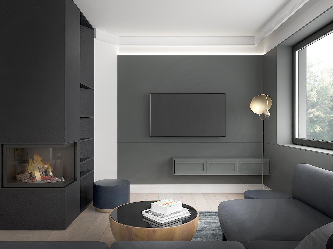 4 architek wnetrz D538 dom nowy sacz salon narozny kominek sciana telewizyjna sztukateria