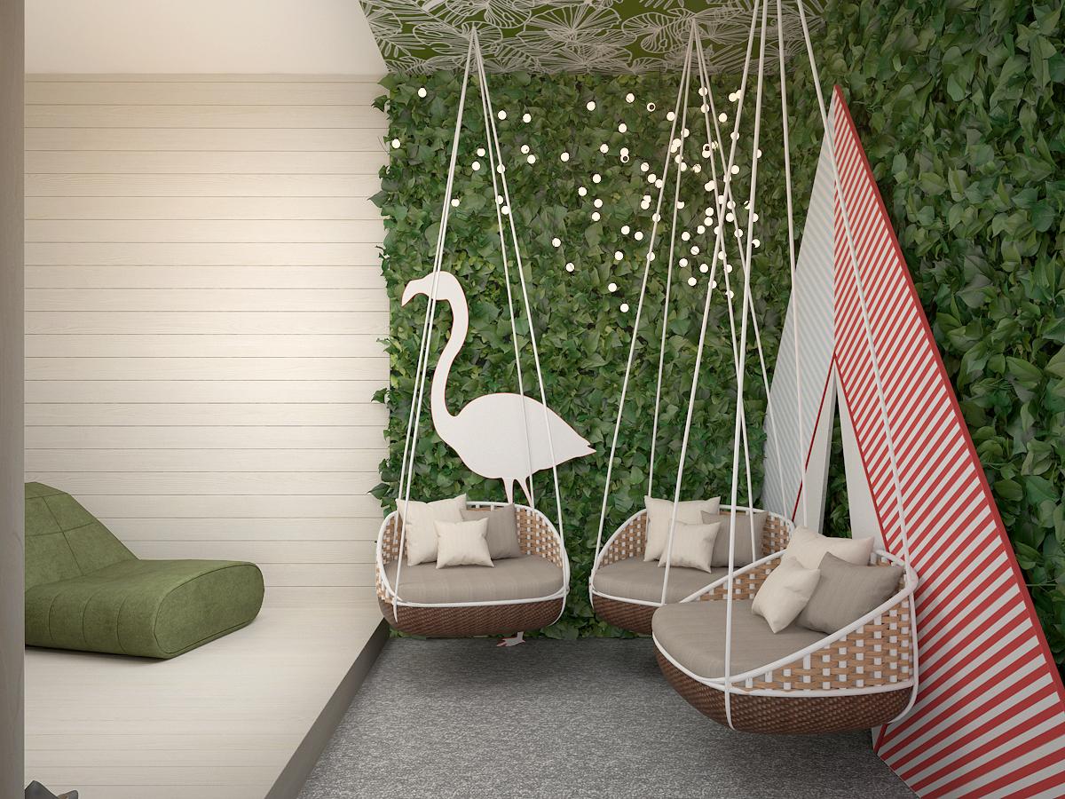 4 projekt biura K073 strefa rekreacyjna wiszace fotele zielona sciana tapeta na suficie tipi flaming panele na scianie
