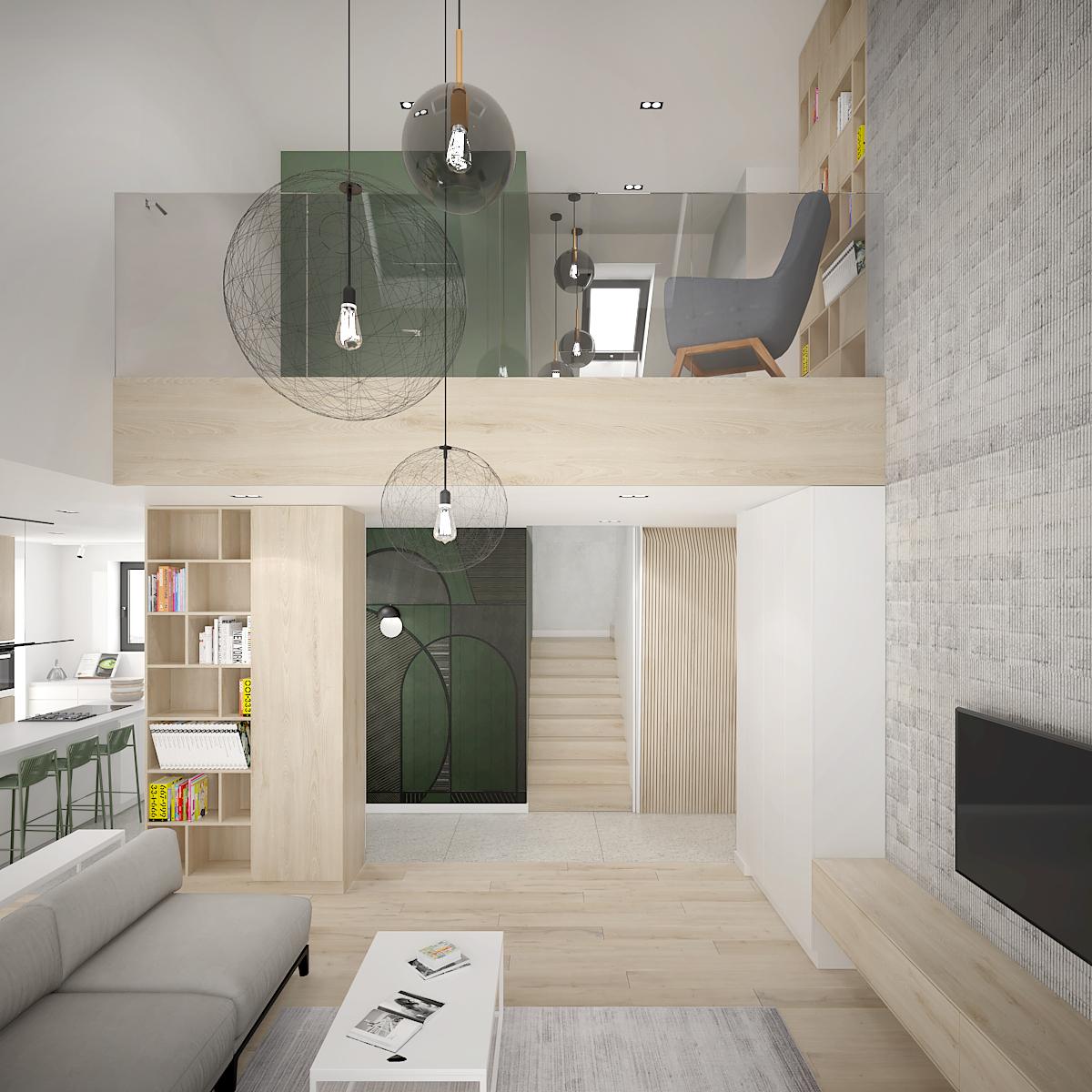 4 projekt wnetrza D552 dom krakow salon z antresola