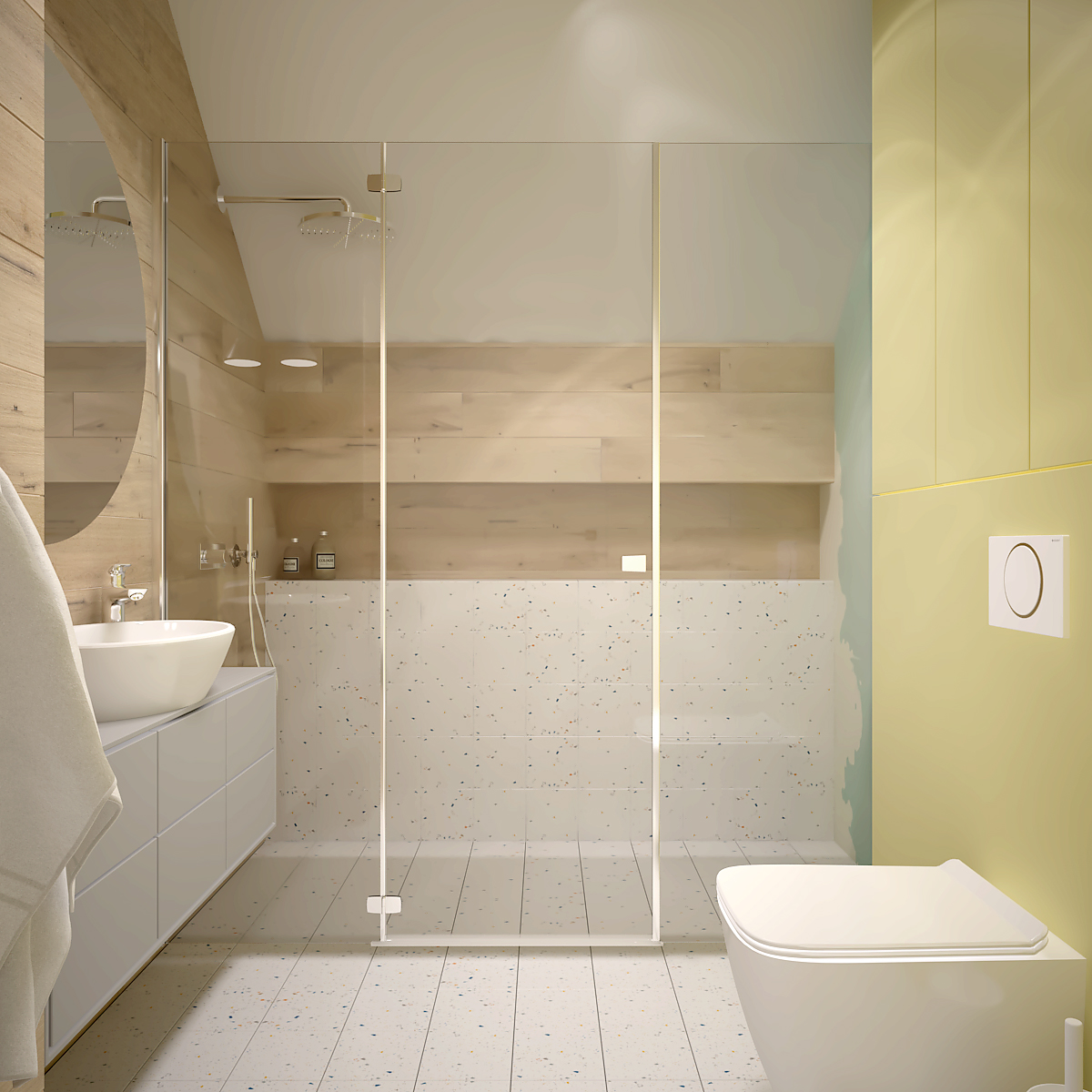 40 projekt wnetrza D552 dom krakow lazienka dla dzieci prysznic