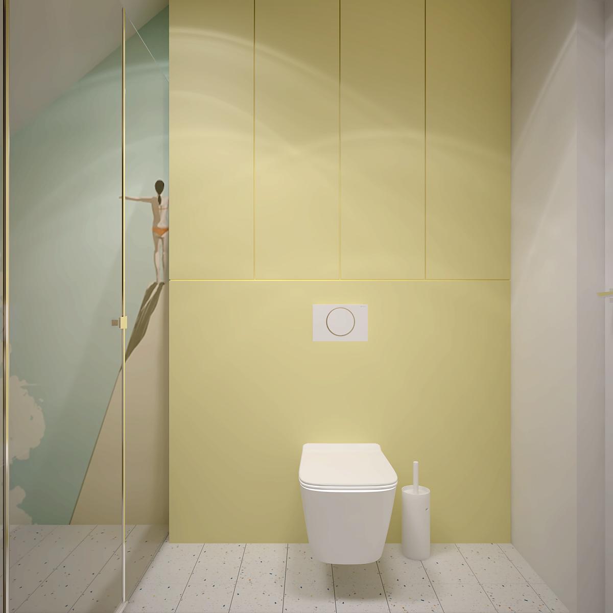 42 projekt wnetrza D552 dom krakow lazienka dla dzieci prysznic z tapeta