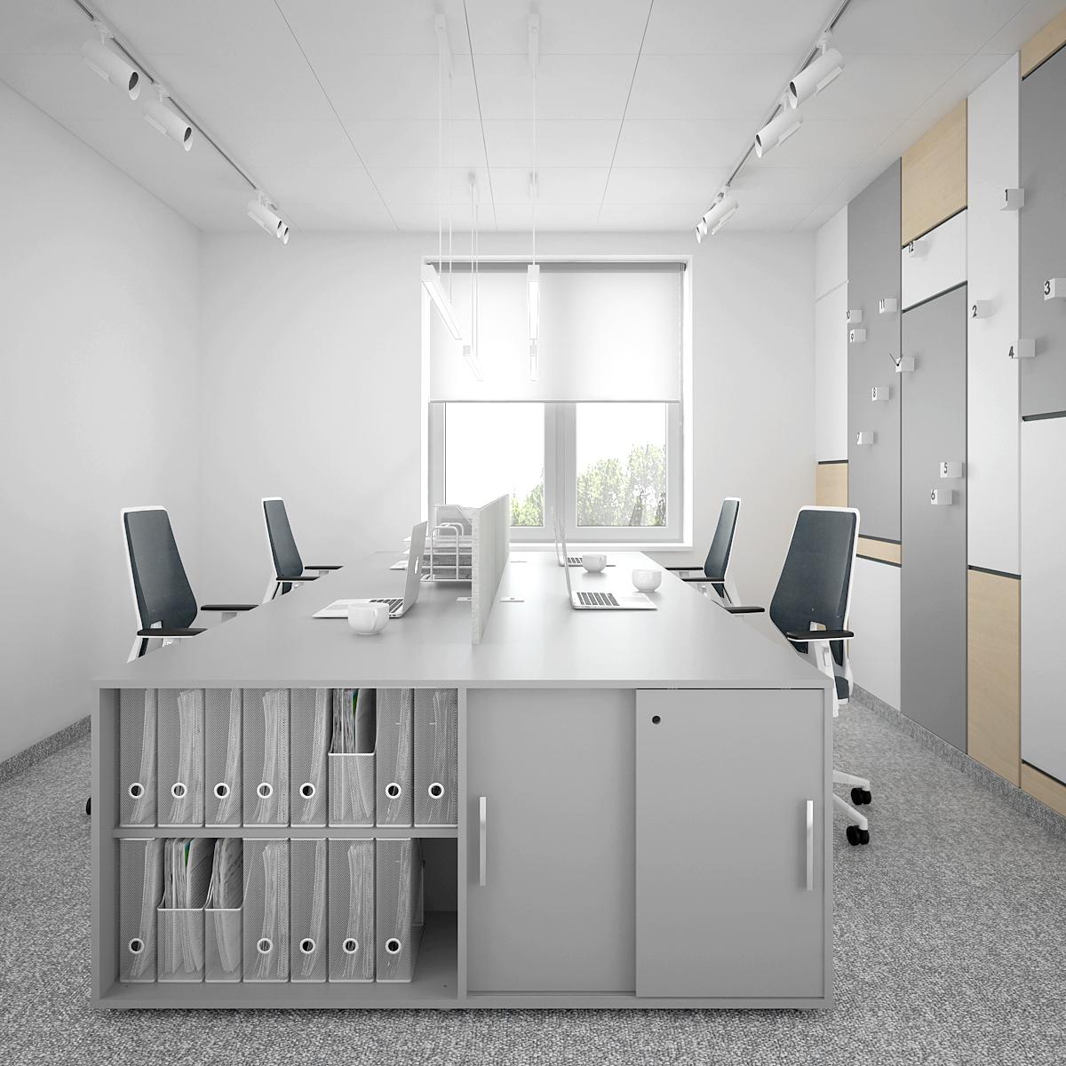 5 aranzacja biura B128 biuro krakow stanowiska pracy szara komado i biurka fotele biurowe panele na scianie oswietlenie na szynach