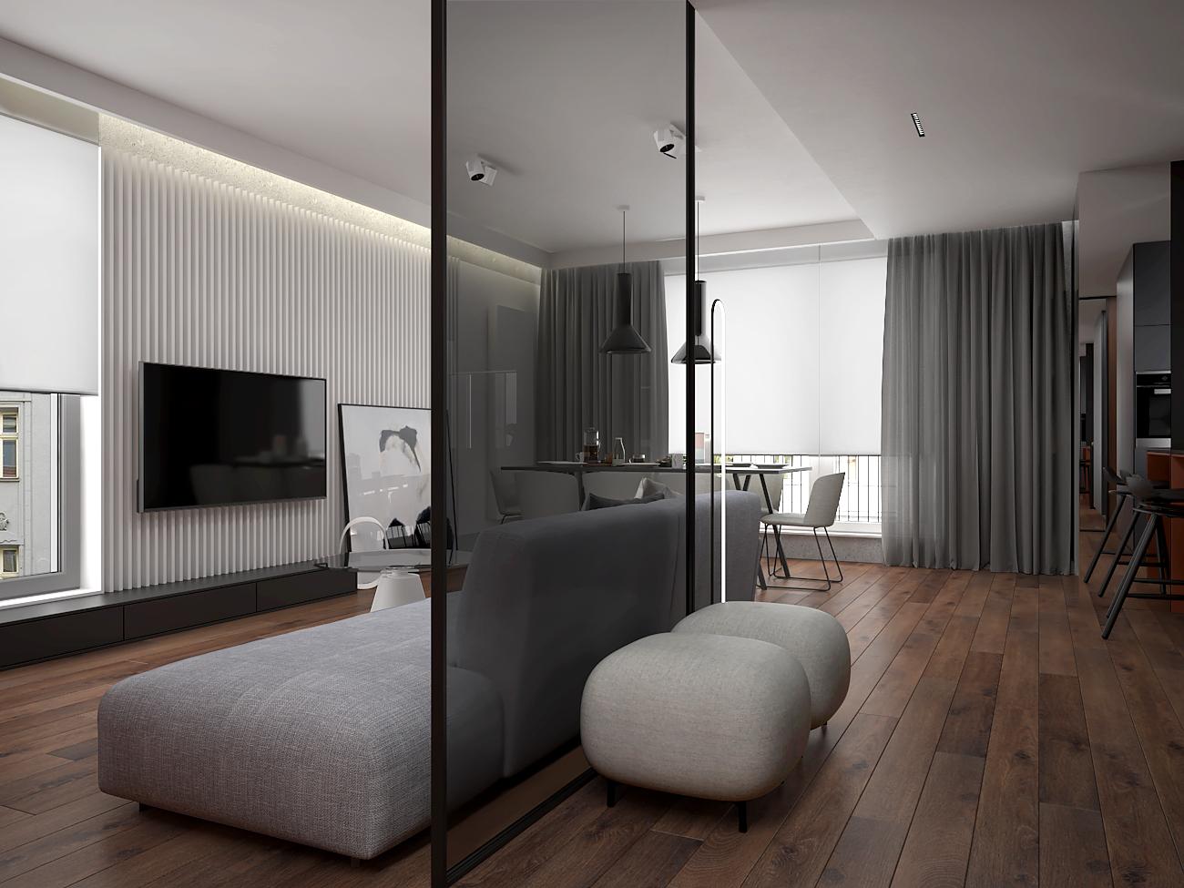 5 aranzacja wnetrza M563 mieszkanie katowice salon z kuchnia szklana sciana w czarnej ramie dwie szare pufy minimalistyczna pufa biale lamele na scienie tv