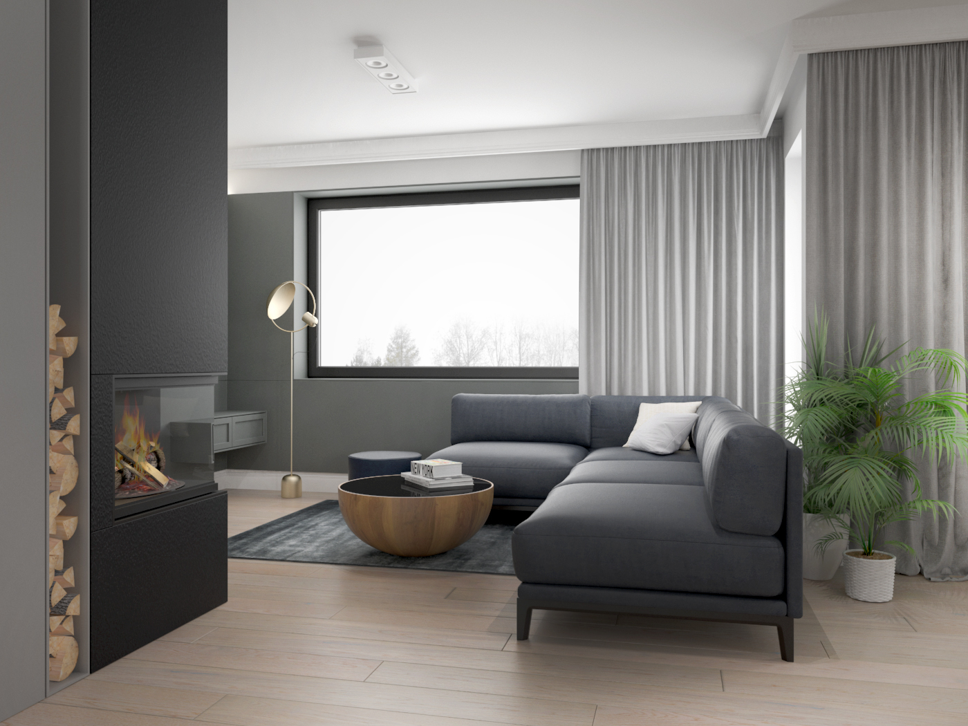 5 architek wnetrz D538 dom nowy sacz salon kominek narozna sofa drewniana podloga