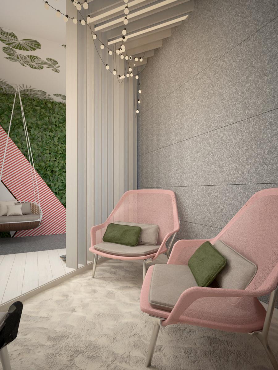 5 projekt biura K073 strefa rekreacyjna piasek fotele filcowa sciana azurowa scianka z paneli