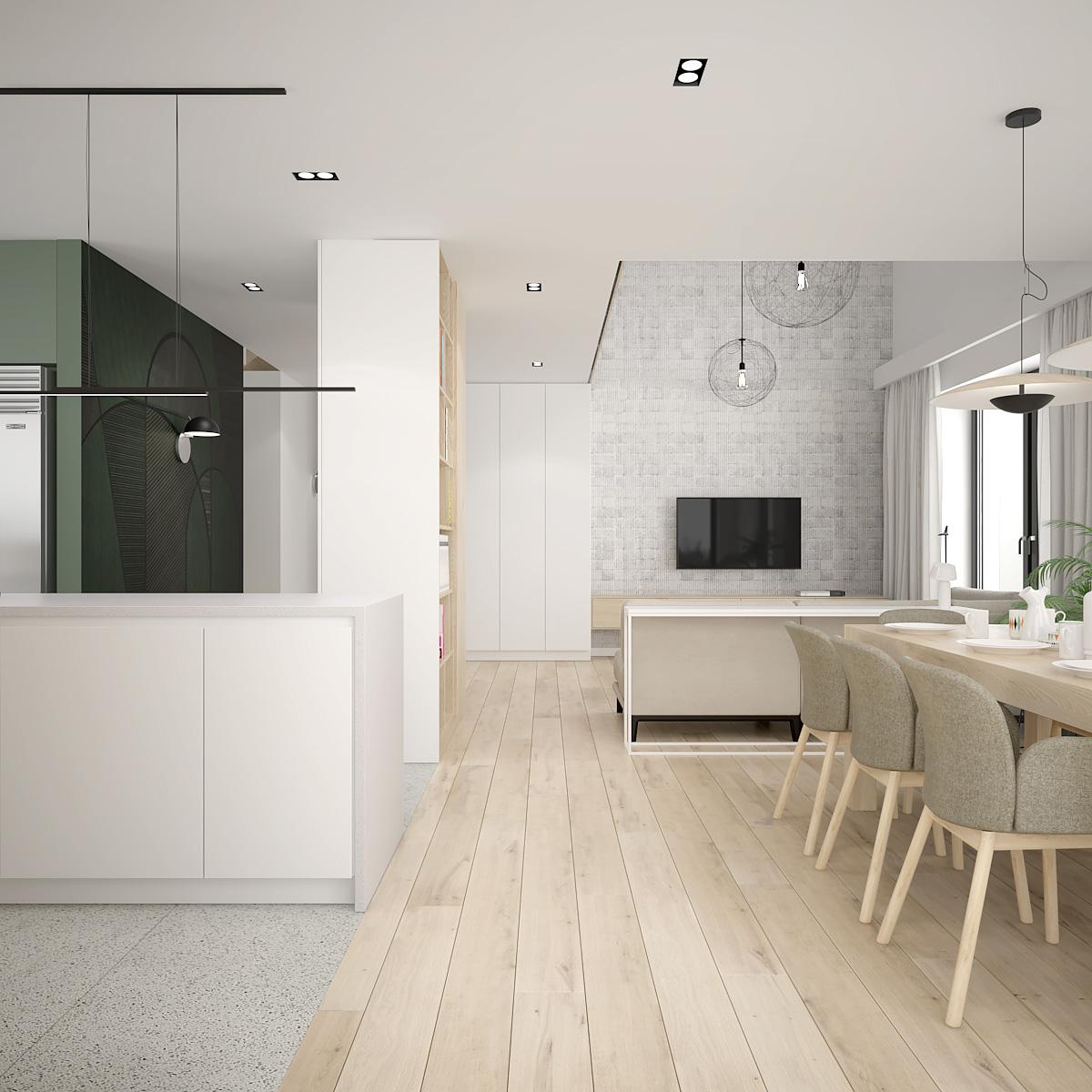 5 projekt wnetrza D552 dom krakow nowoczesny salon z jadalnia