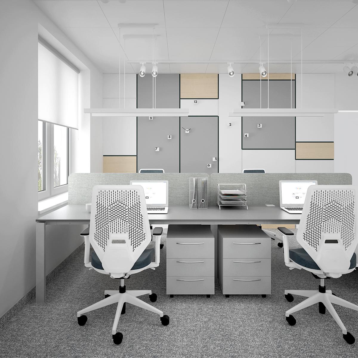 6 aranzacja biura B128 biuro krakow stanowiska pracy nowoczesne ergonomiczne fotele szare biurka kontenertki panele na scianach