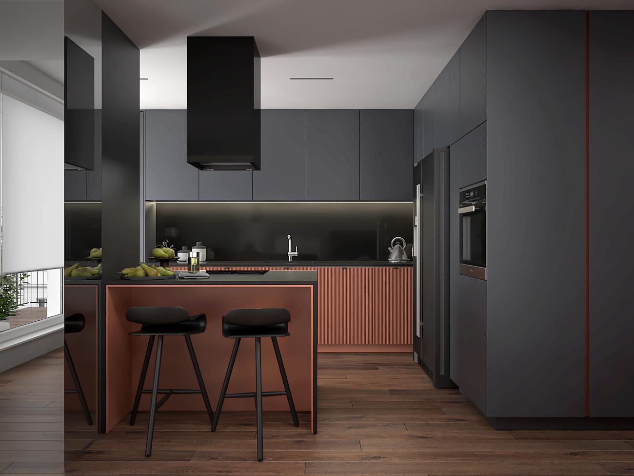 6 aranzacja wnetrza M563 mieszkanie katowice salon z kuchnia szara zabudowa wyspa z hokerami czarny okap wyspowy lamele na frontach meblowych