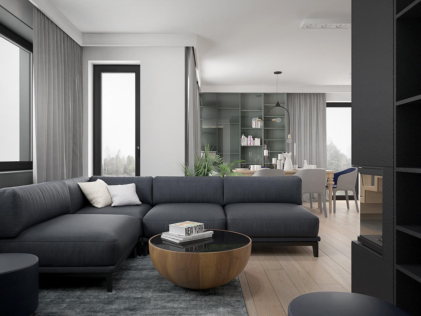 6 architek wnetrz D538 dom nowy sacz salon z jadalnia narozna sofa antracytowa